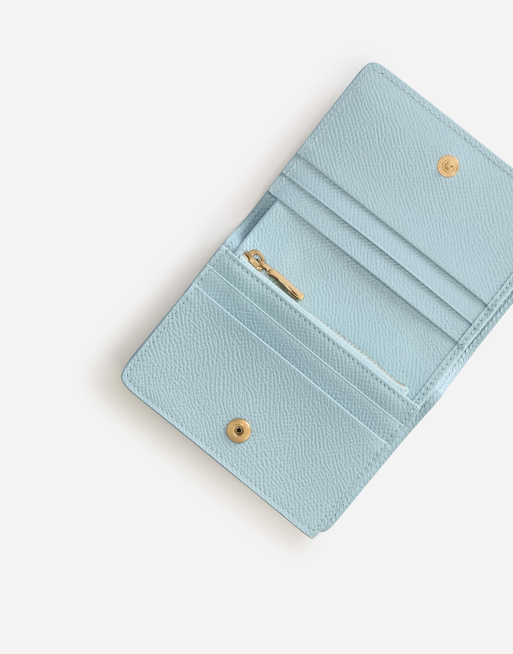Small dauphine calfskin continental wallet with rhinestone-detailed DG logo 3