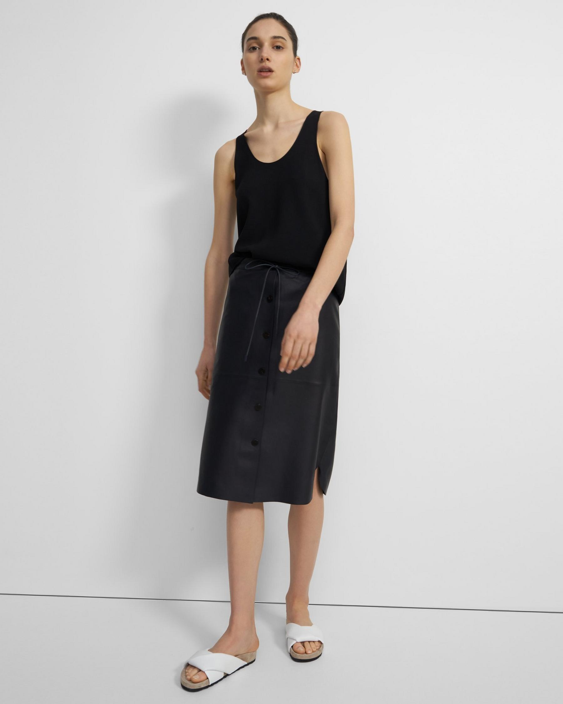 Drawstring Skirt in Leather