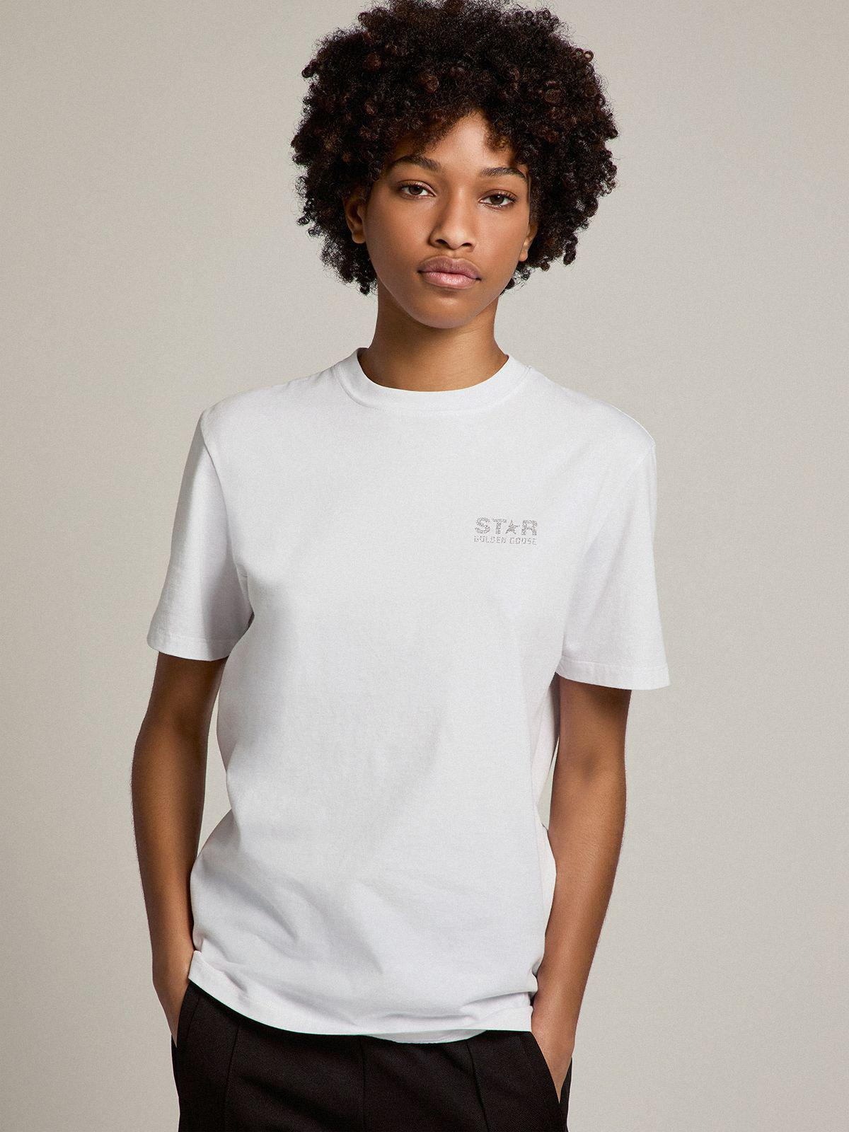 White Star Collection T-shirt with logo and star in silver glitter 1