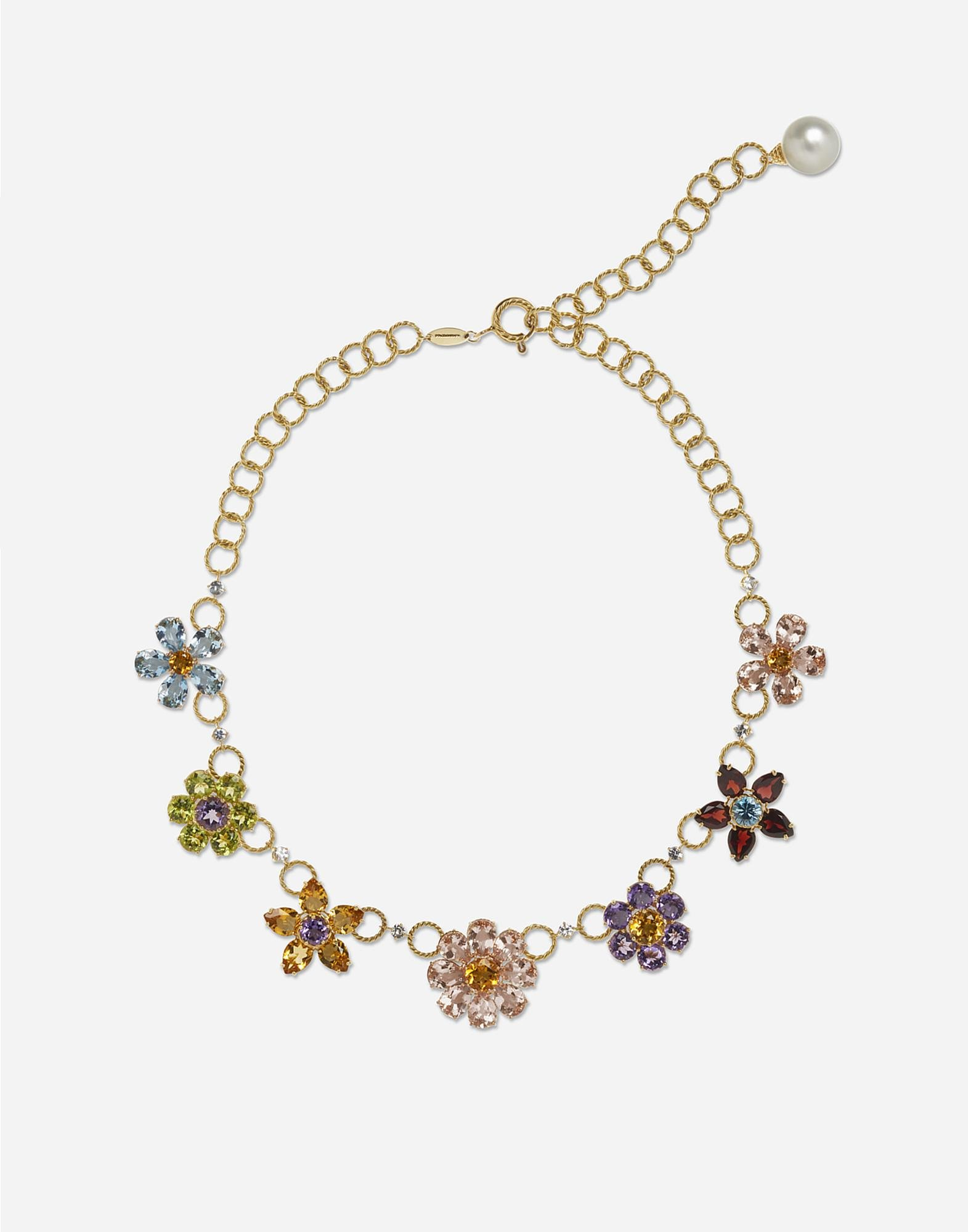 Necklace with floral decorative elements