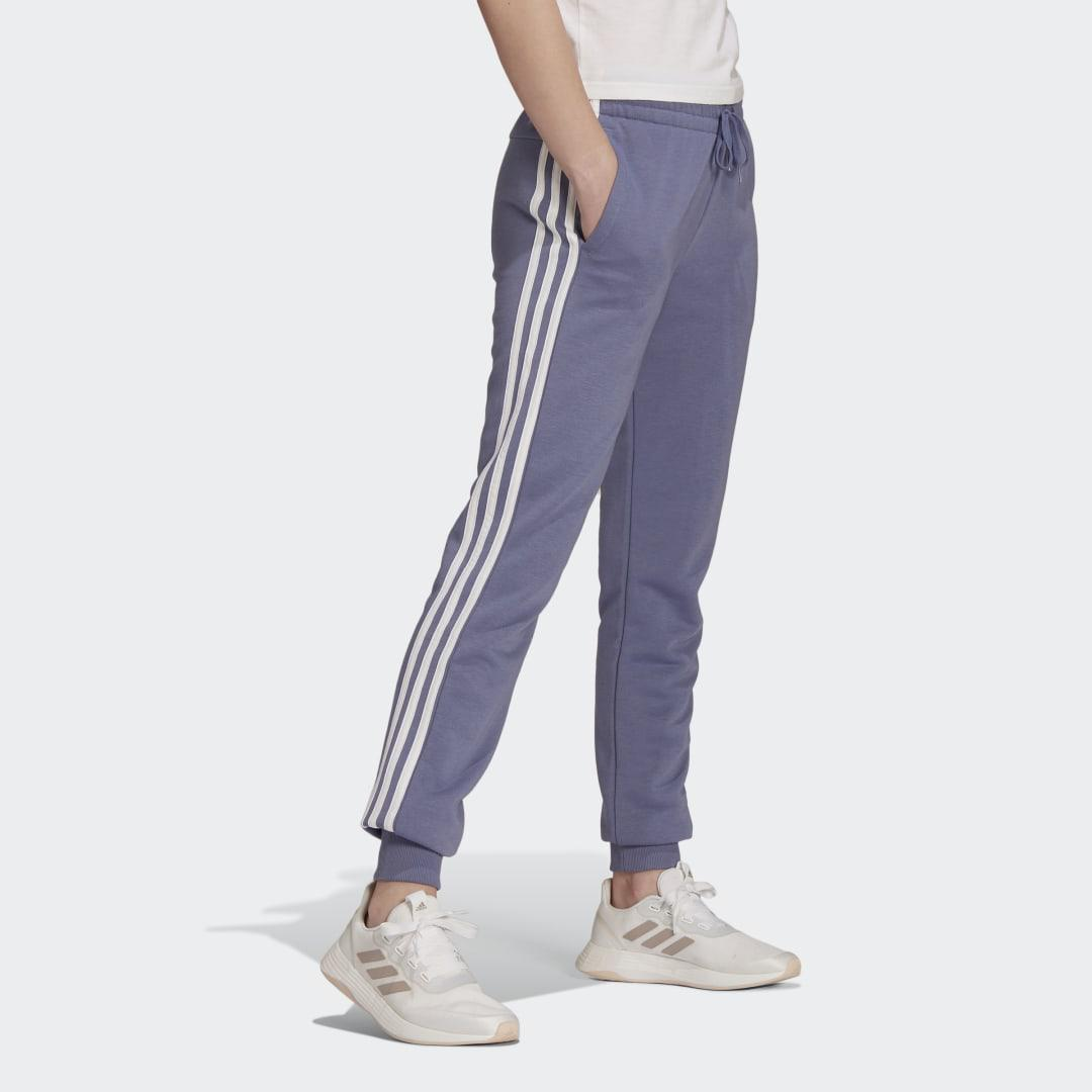 Essentials French Terry 3-Stripes Pants Orbit Violet 4