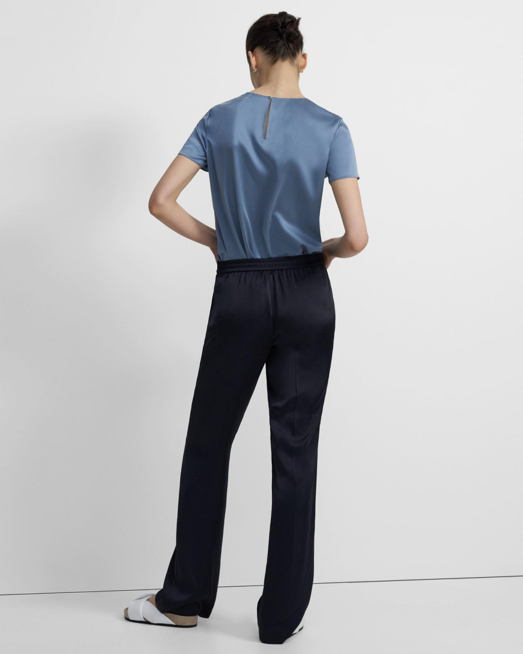Straight-Leg Pull On Pant Pant in Crushed Satin 2