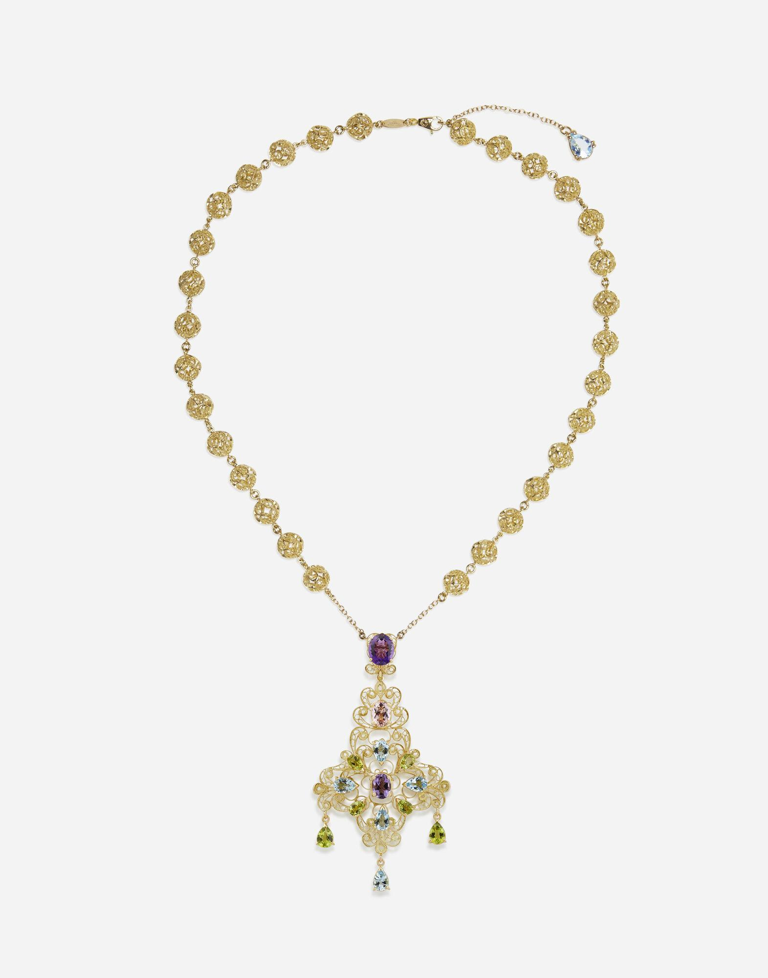 Pizzo necklace in yellow gold filigree with amethysts, aquamarines, peridots and morganite