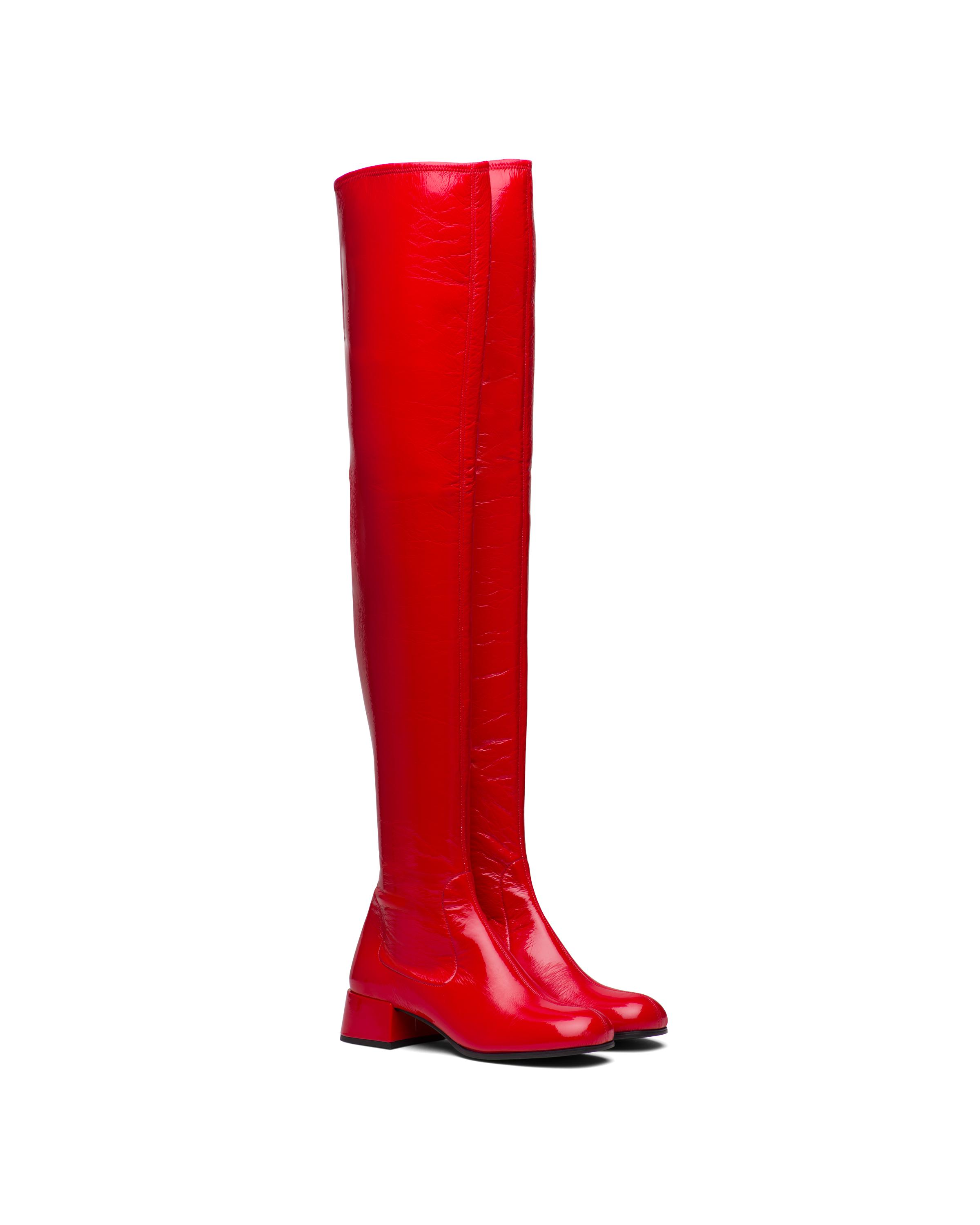 Technical Patent Leather Boots Women Red 4