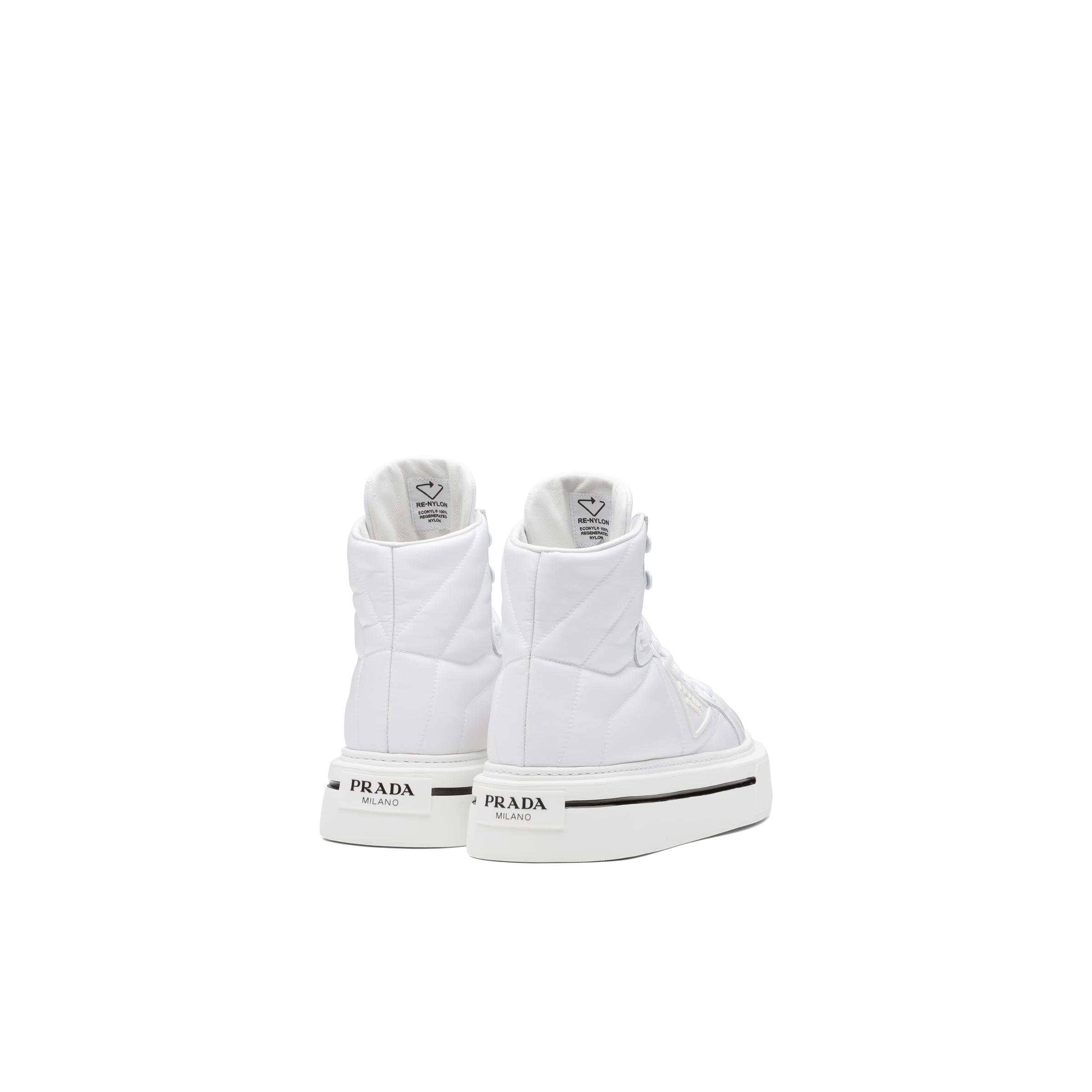 Macro Re-nylon And Brushed Leather High-top Sneakers Women White 3