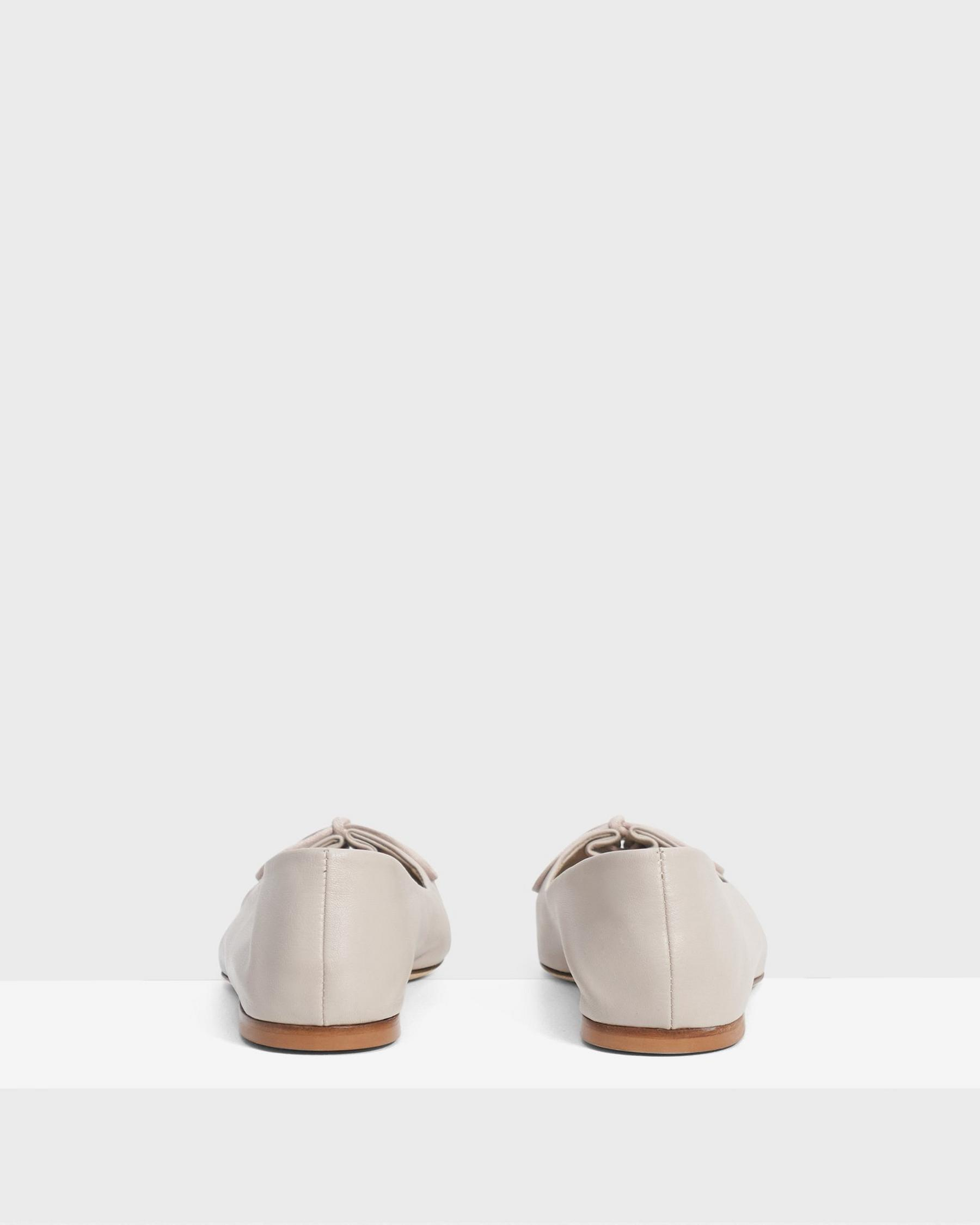 Pleated Ballet Flat in Leather 3