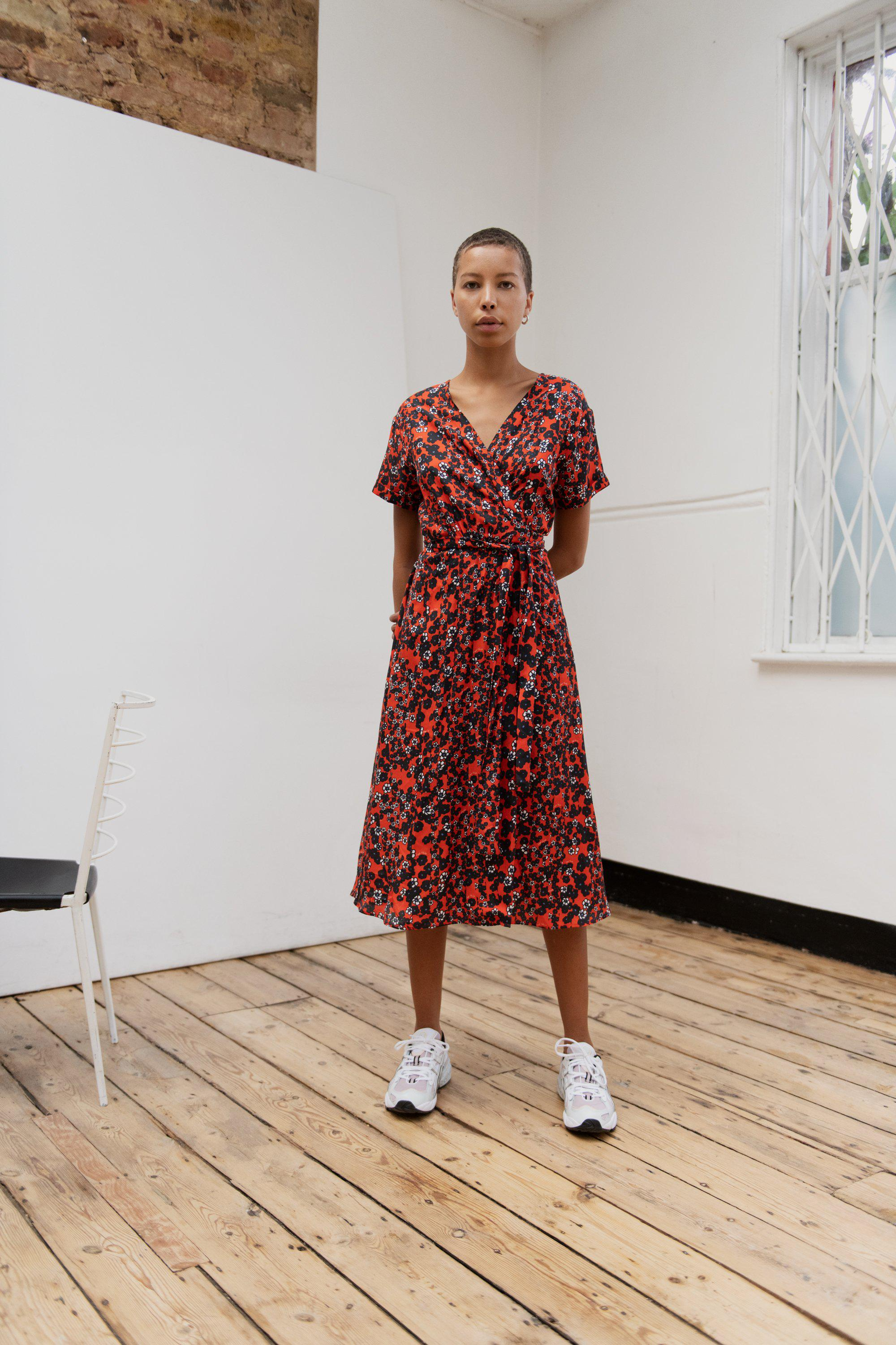 Ditsy Red Jacques Wrap Dress