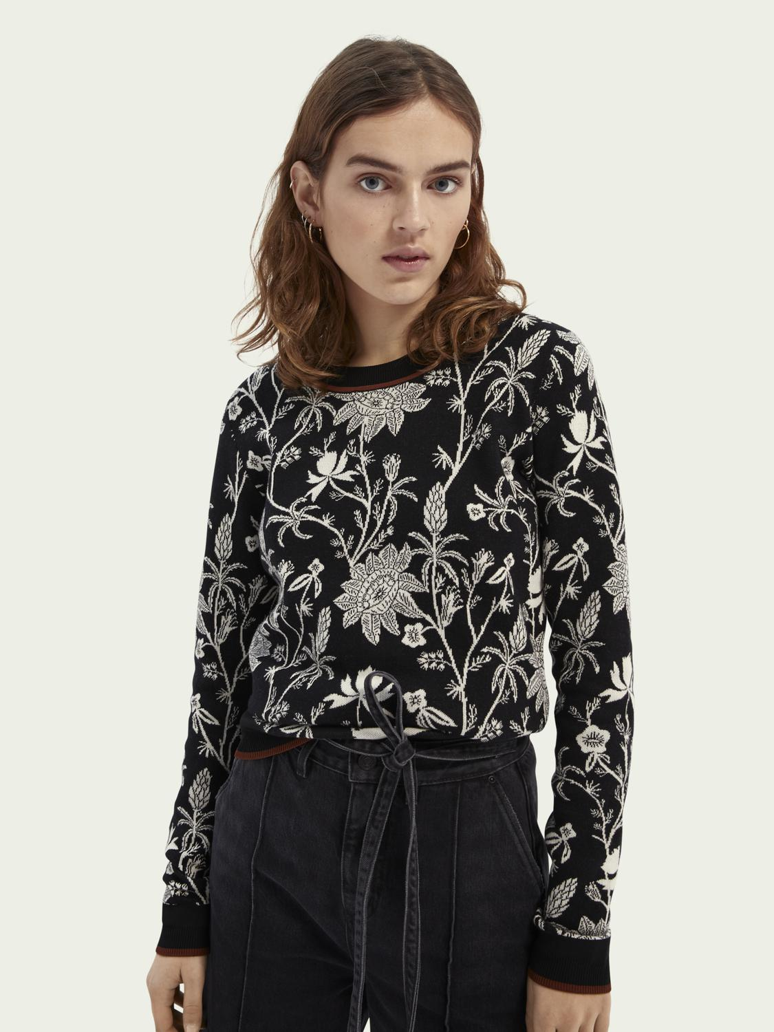 Knitted sweater in floral-print