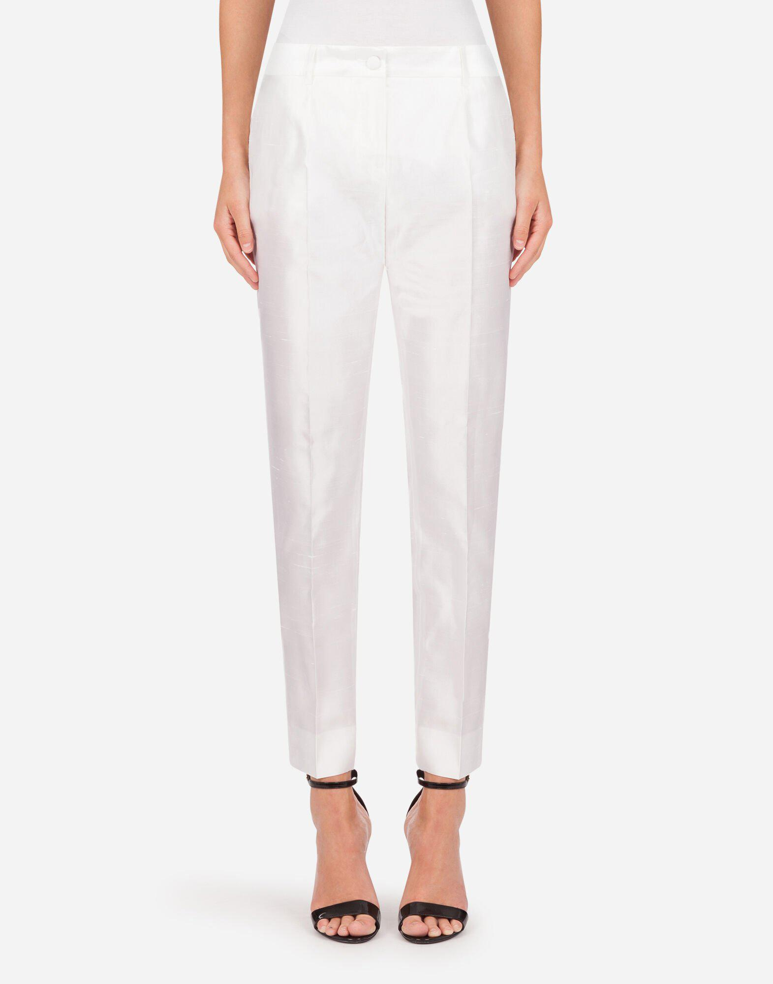 Low-waisted pants in shantung