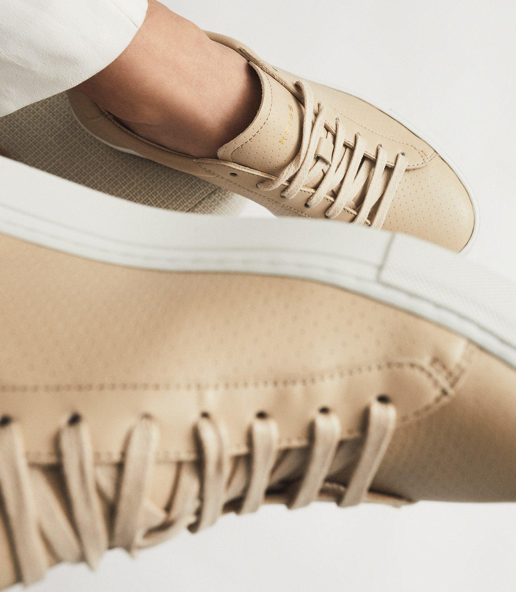 FINLEY - PERFORATED LEATHER TRAINERS 5