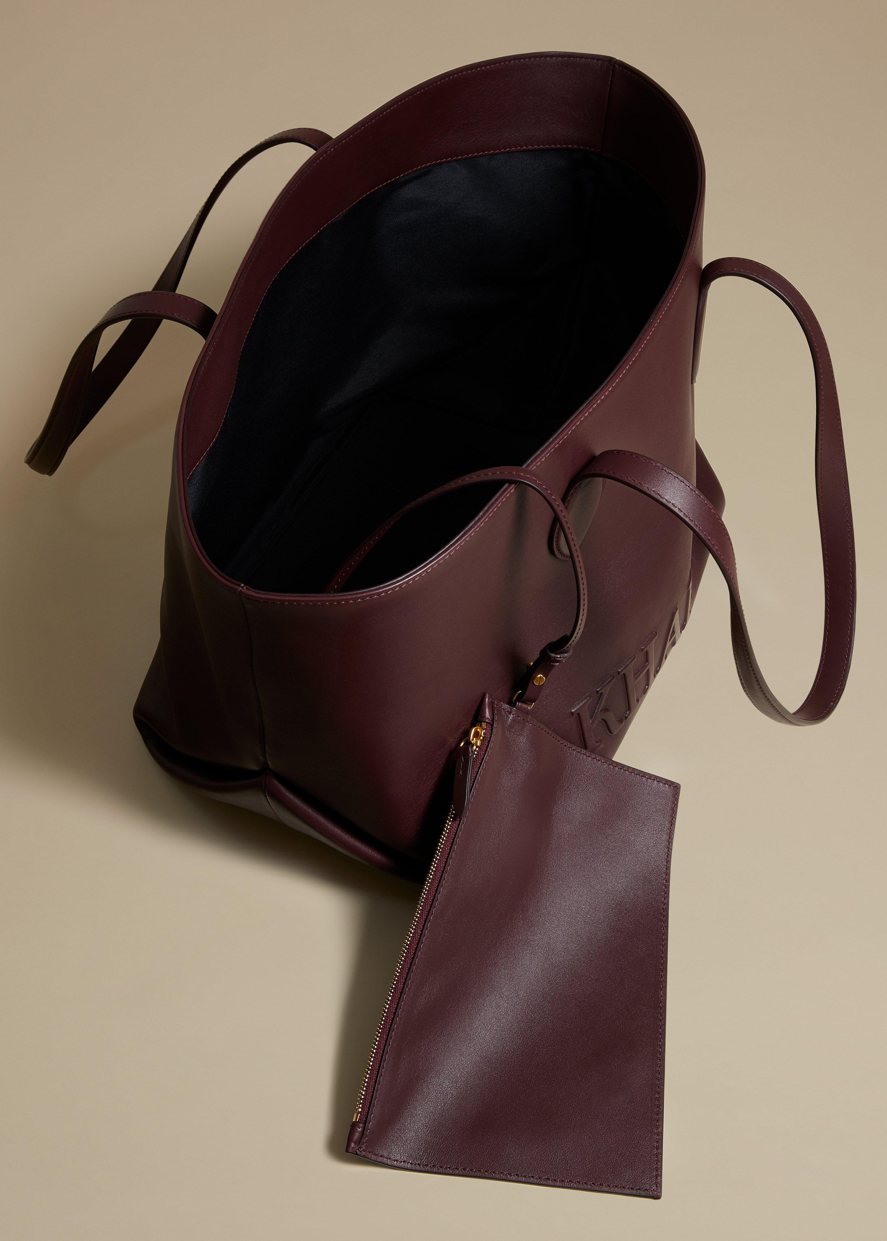 The Florence Tote in Deep Red Leather 3
