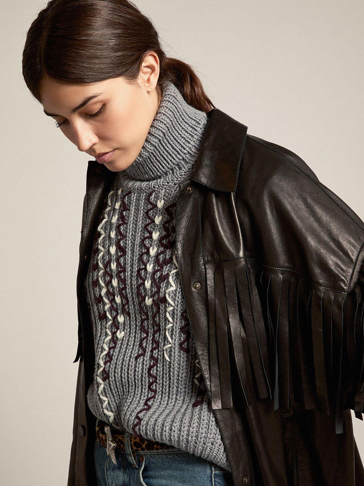Oversize Journey Collection Darcie shirt in black nappa lambskin with fringes