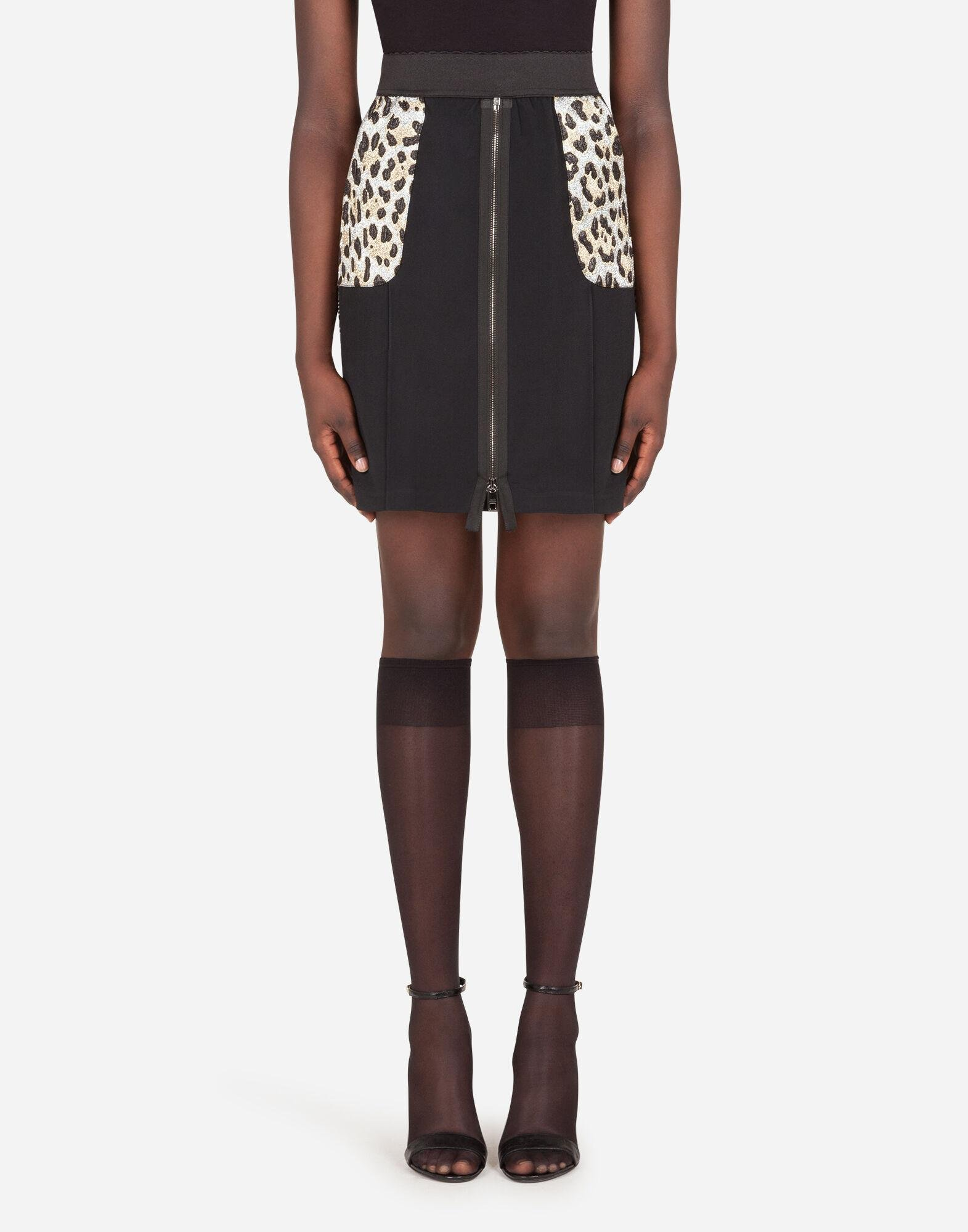 Cady skirt with leopard-print pockets