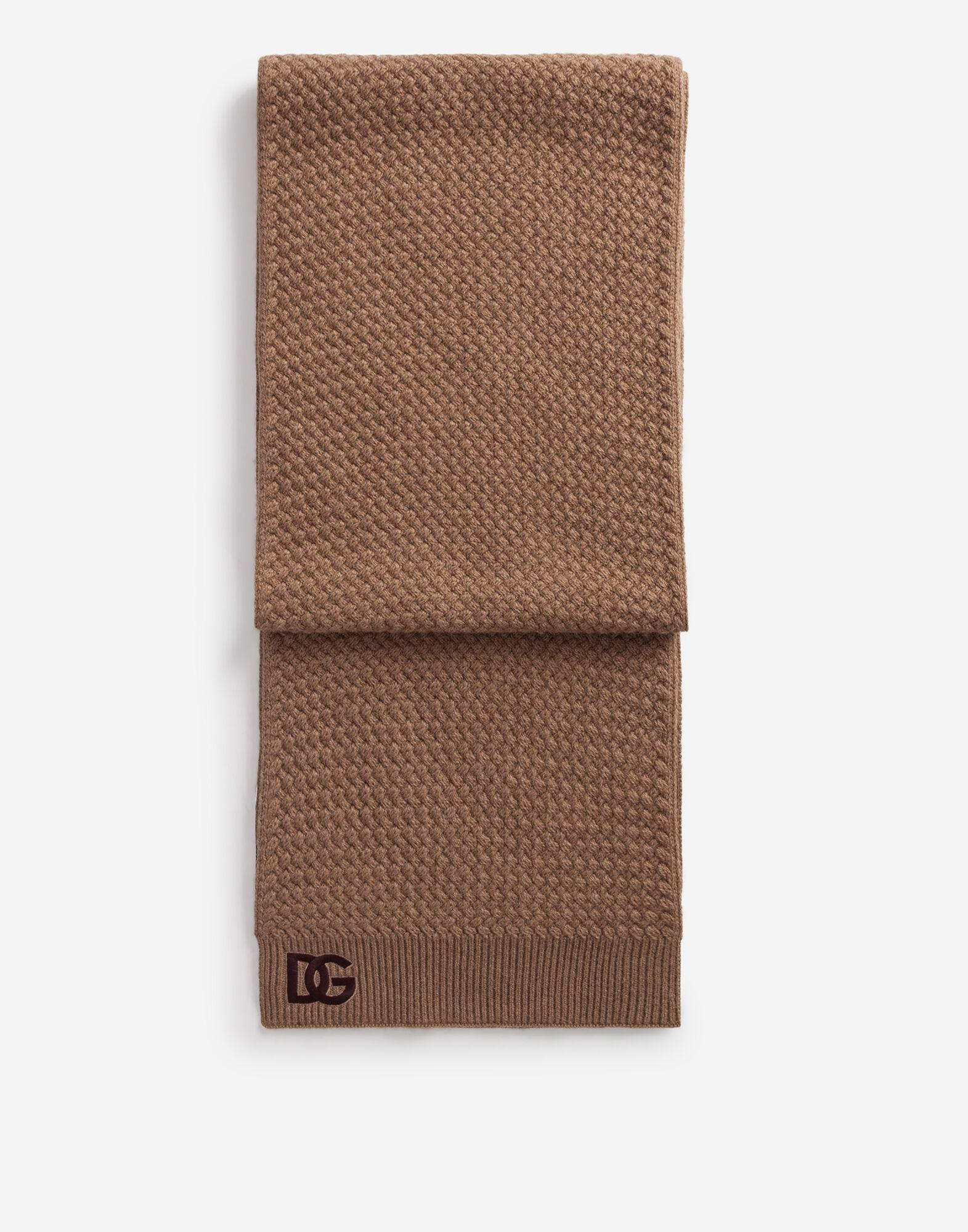 Cashmere scarf with embroidered logo