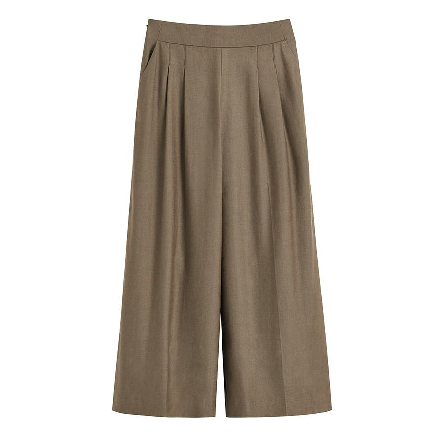 Women's Linen Wide-Leg Cropped Pant in Olive | Size: