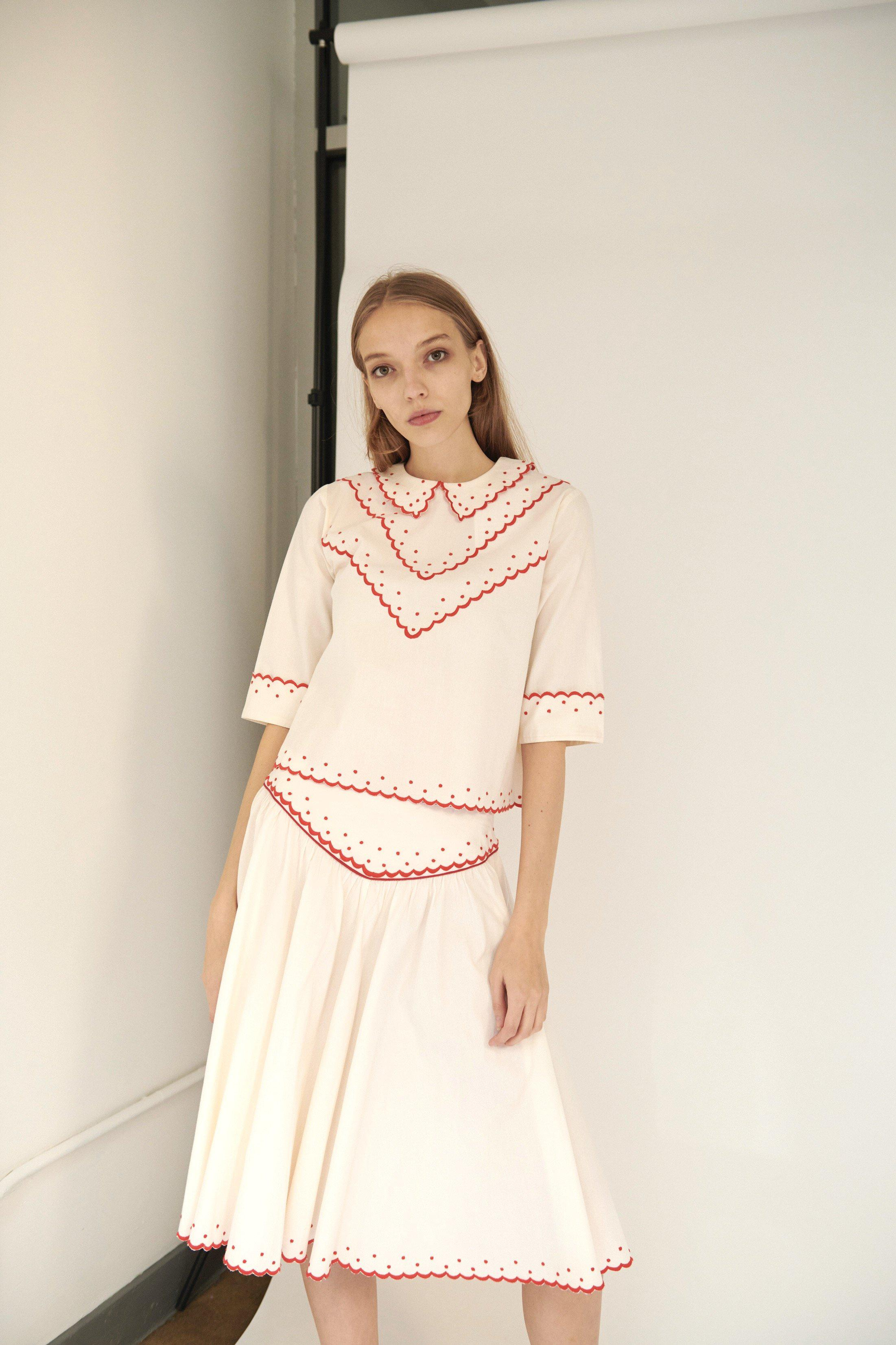 Shirley Skirt in Cream with Red Embroidery