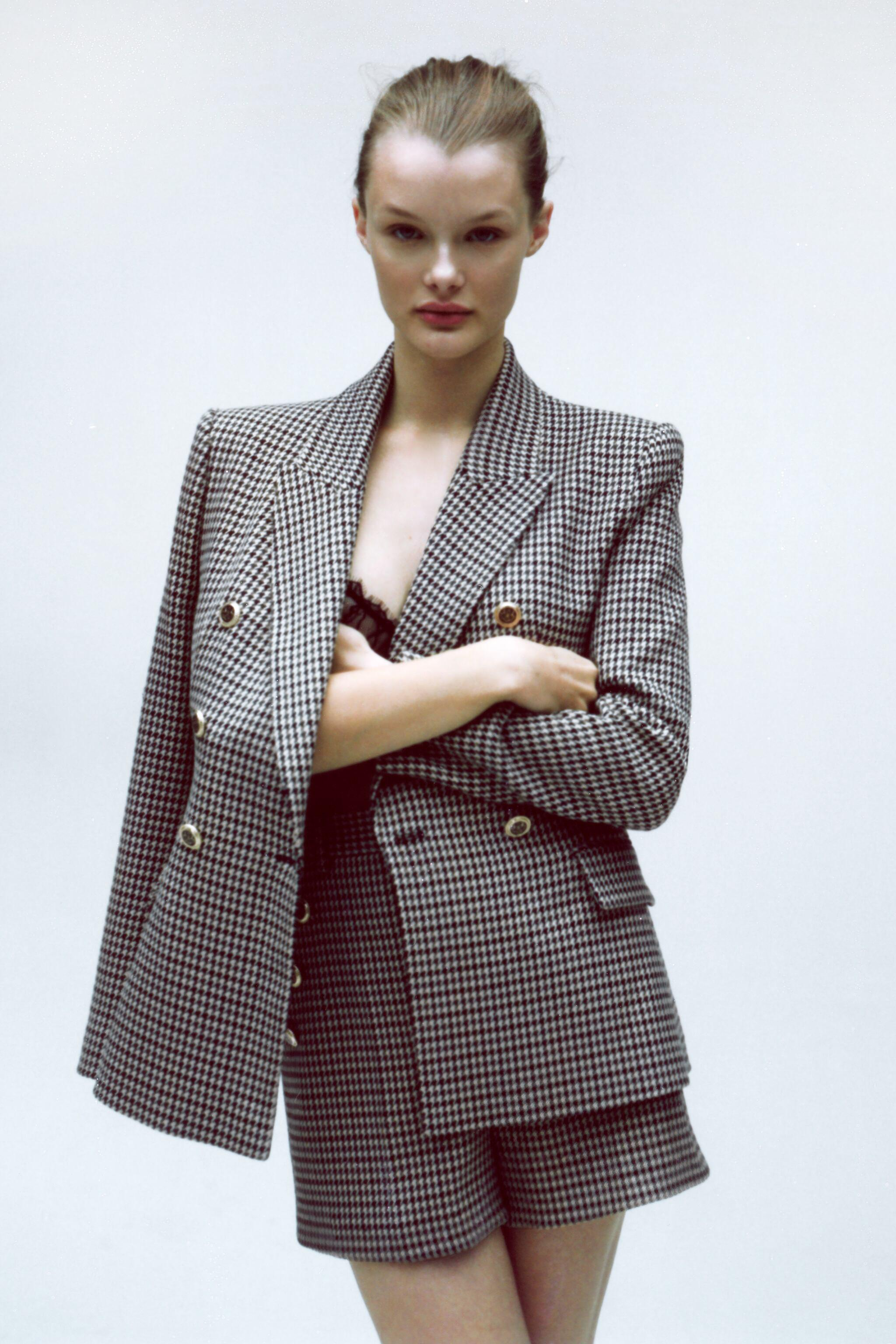 DOUBLE BREASTED HOUNDSTOOTH BLAZER 1