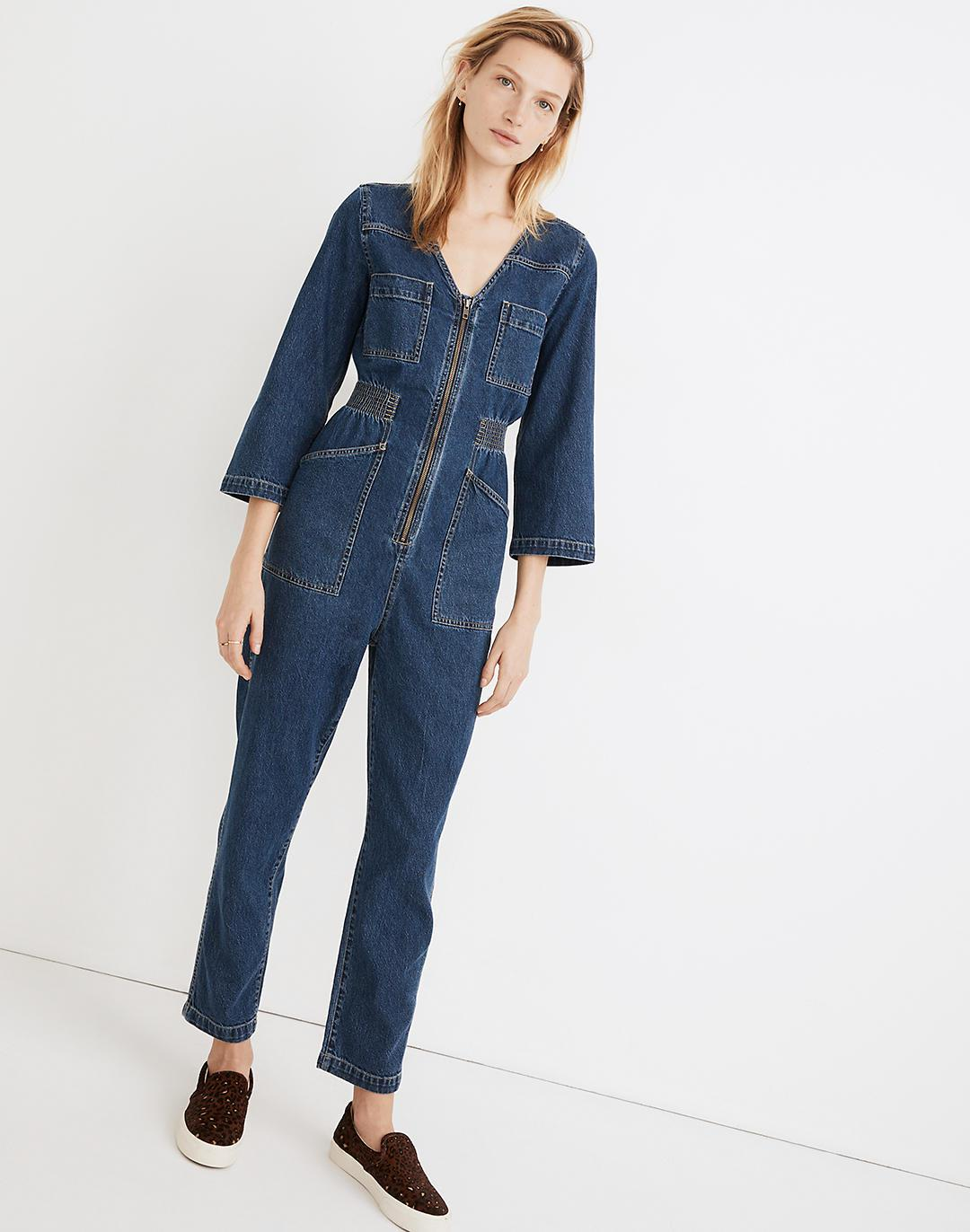 Denim Patch Pocket Coverall Jumpsuit in Amfield Wash