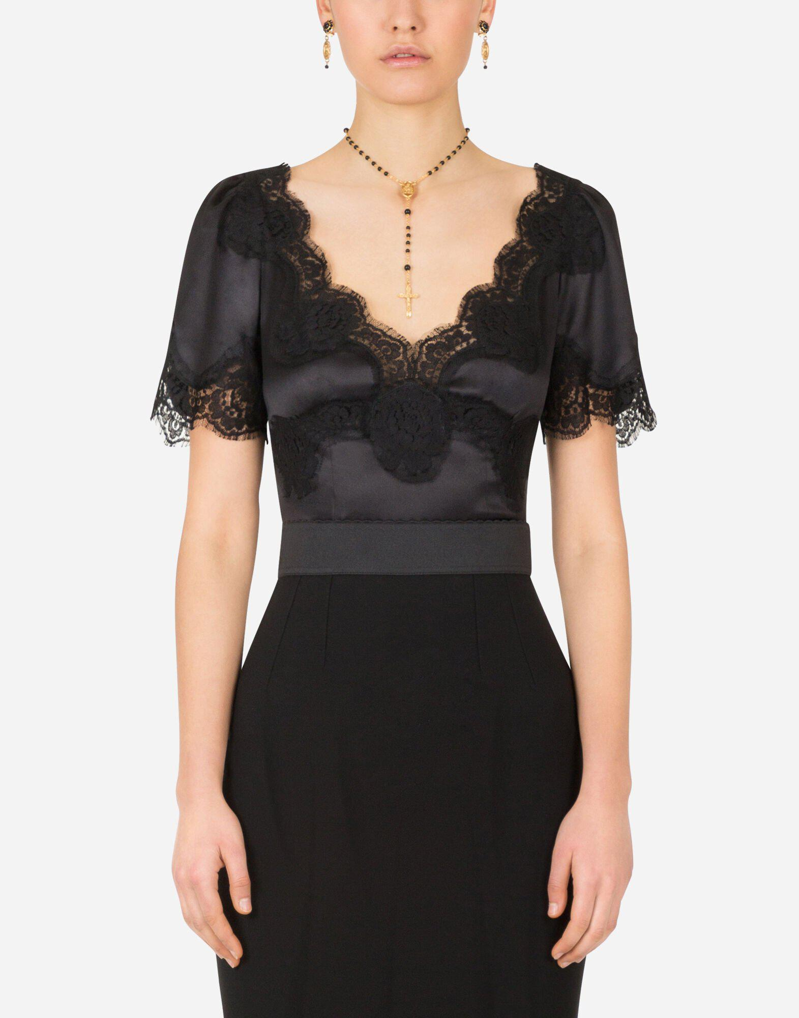 Satin top with lace details