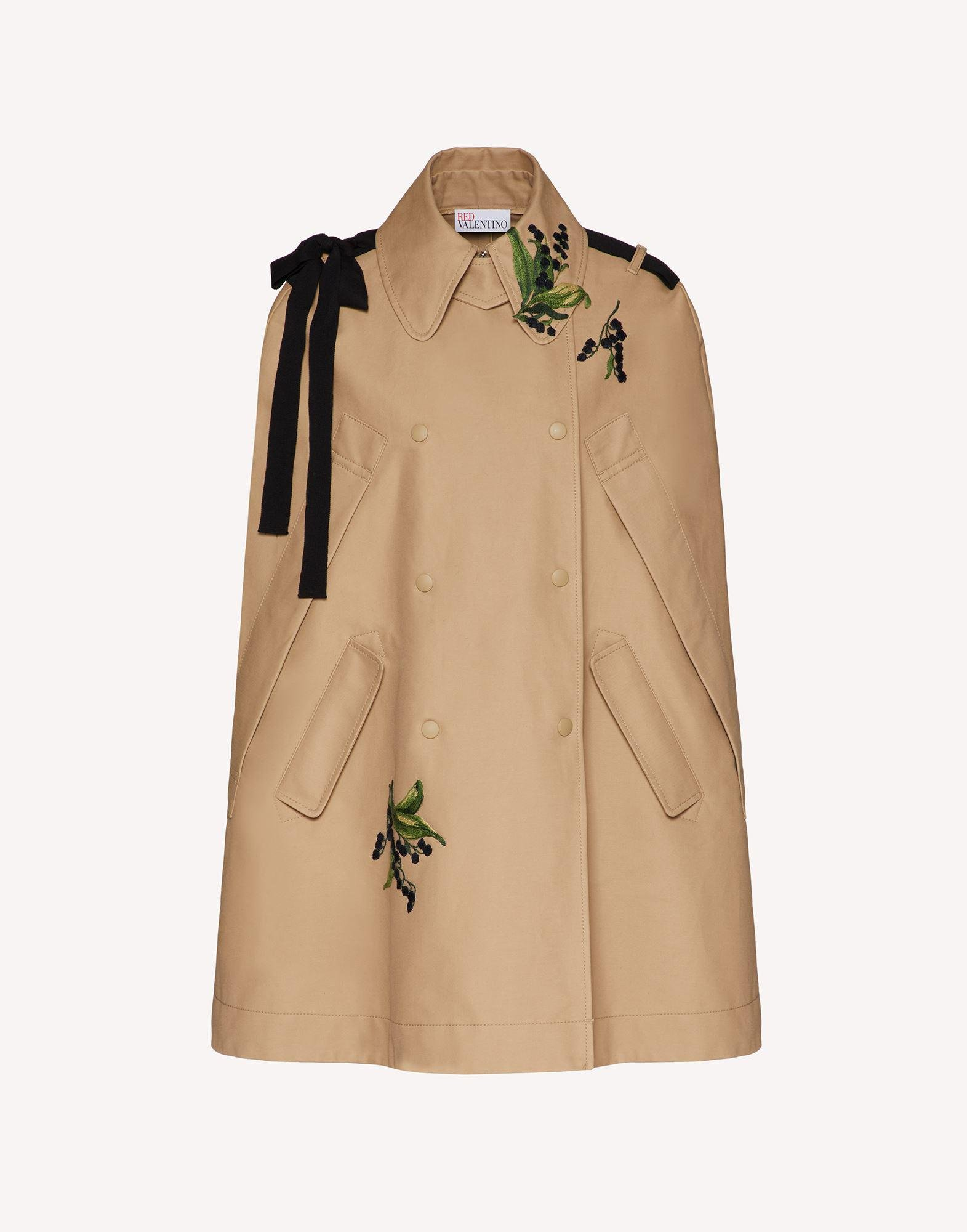 MAY LILY EMBROIDERED TRENCH CAPE WITH BOW DETAIL 4