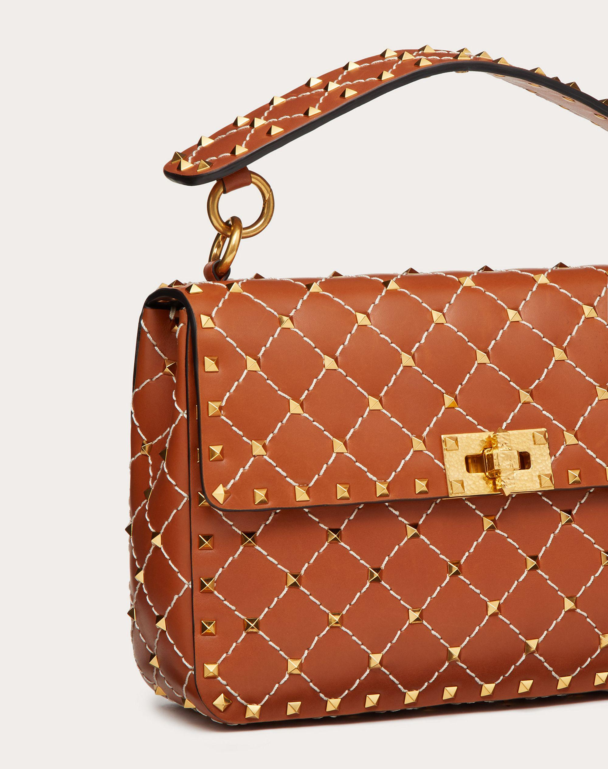 Medium Spike.It Nappa Bag with Leather Grid Detailing 4