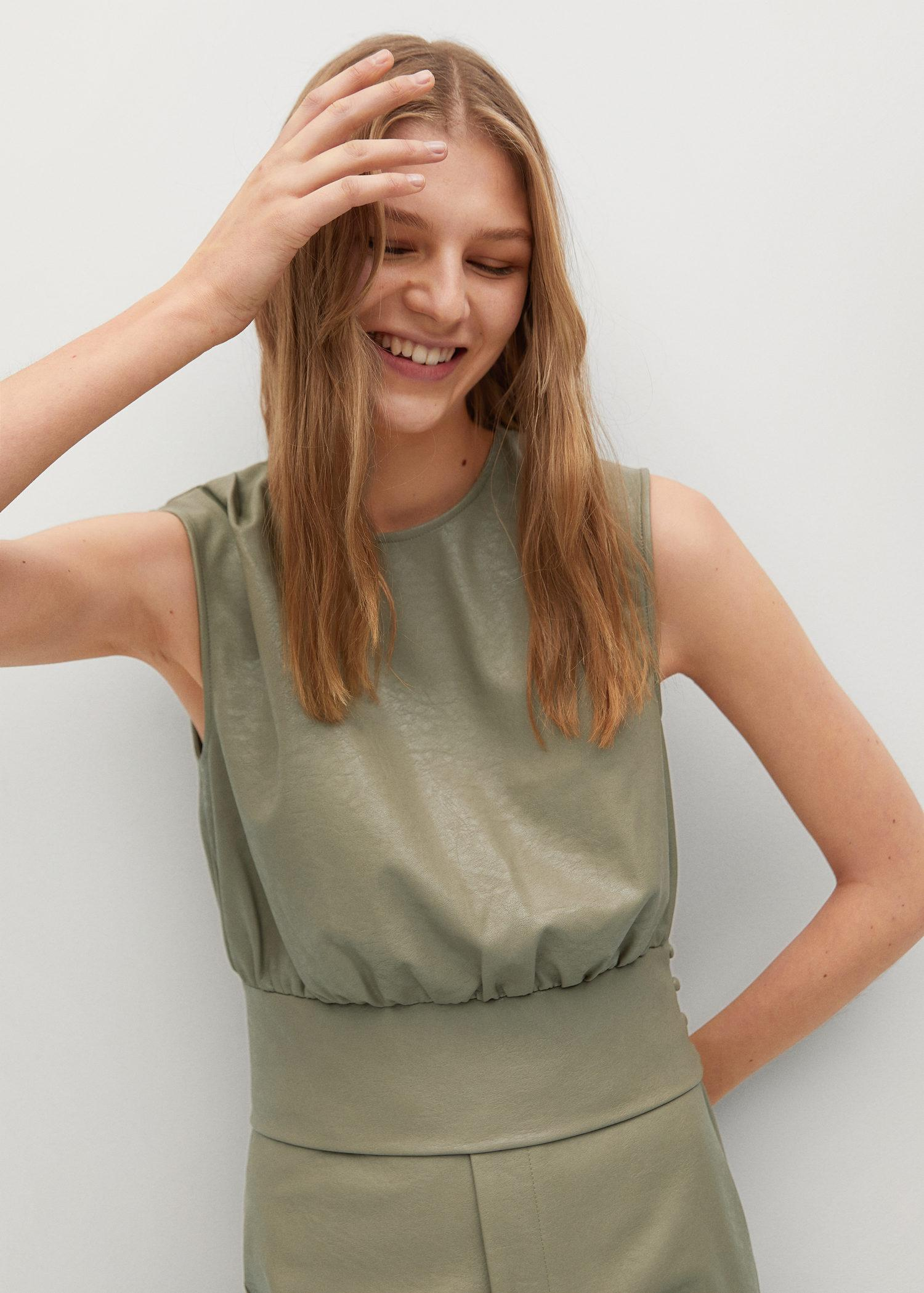 Leather-effect top