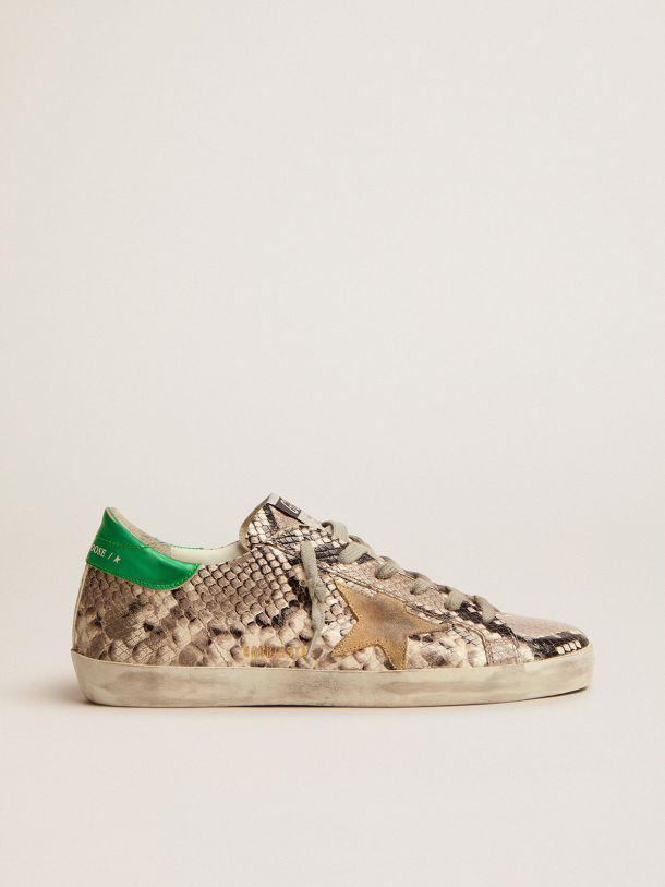Super-Star LTD sneakers with snake-print leather upper and green laminated leather heel tab