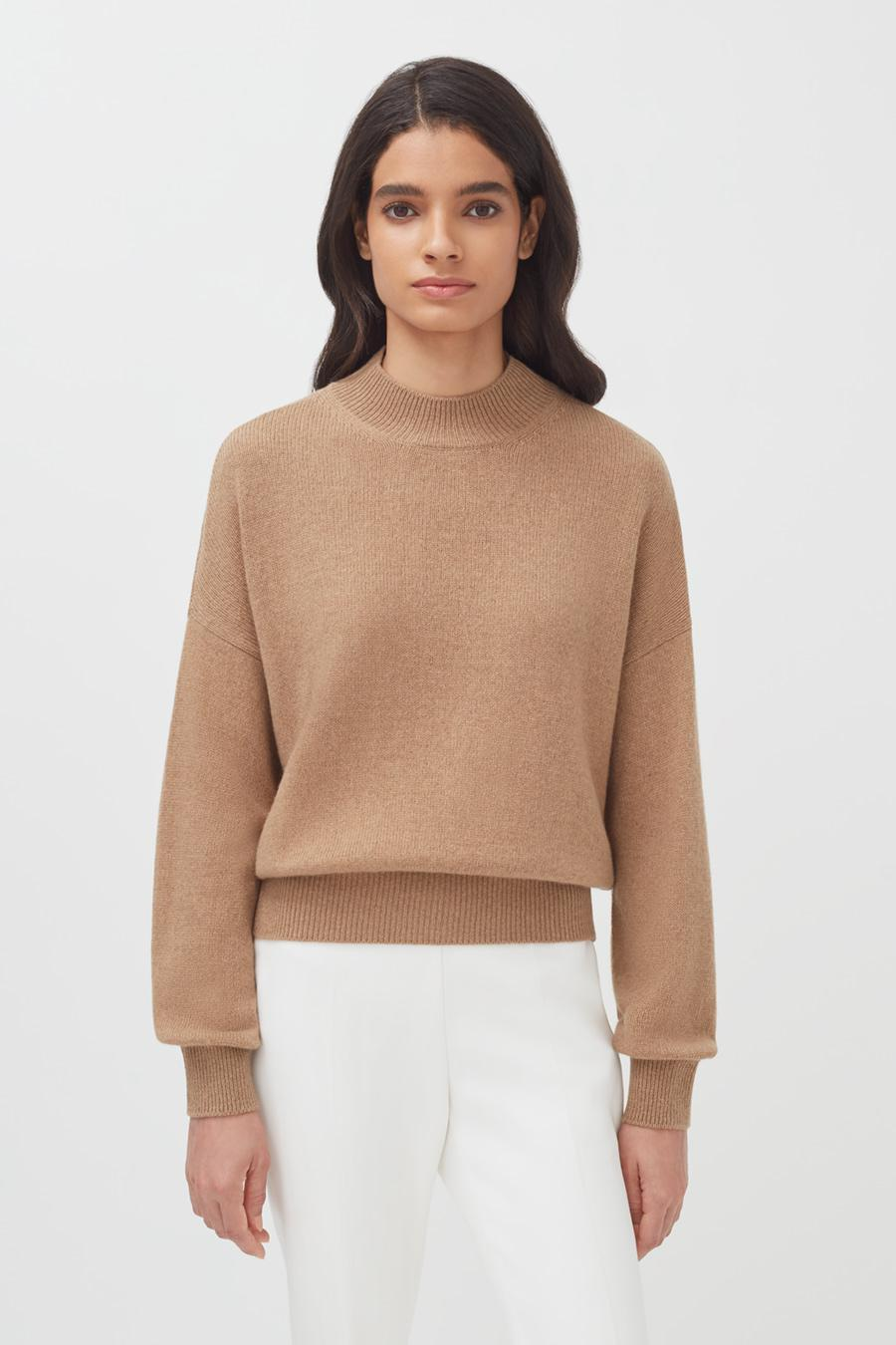 Women's Recycled Mock Neck Sweater in Camel | Size: 1