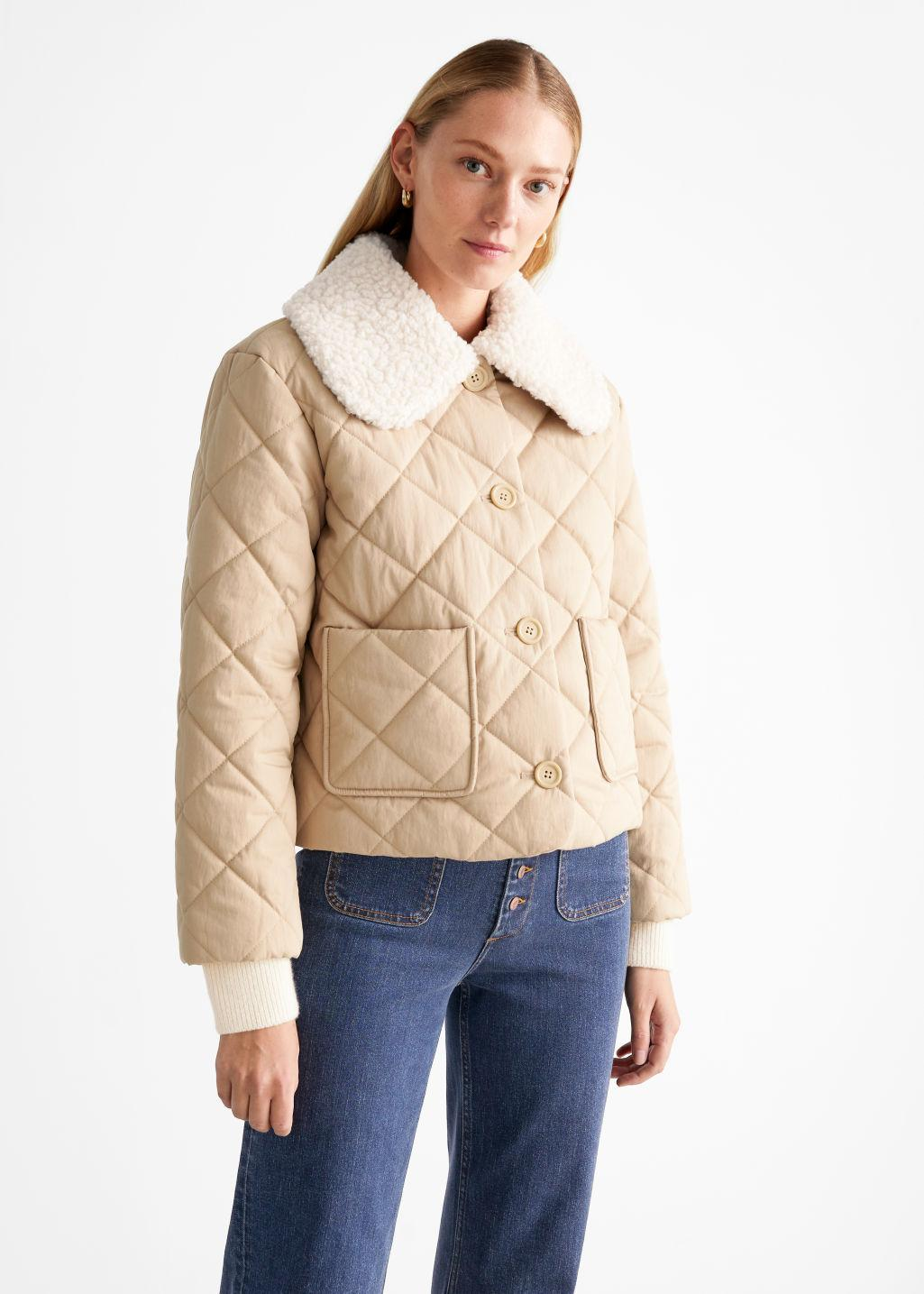 Quilted Removable Collar Jacket