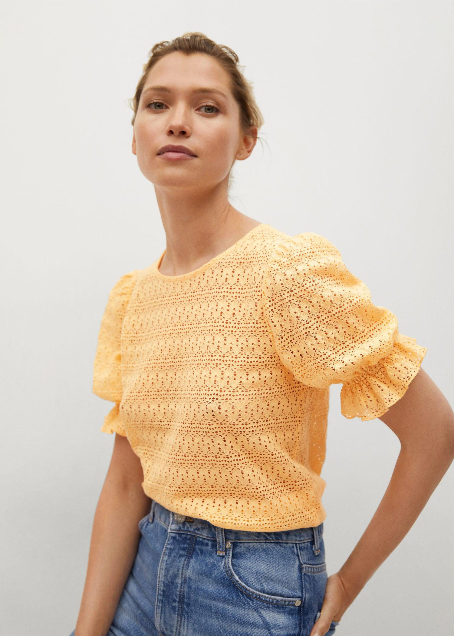 Cotton t-shirt with openwork detail 0