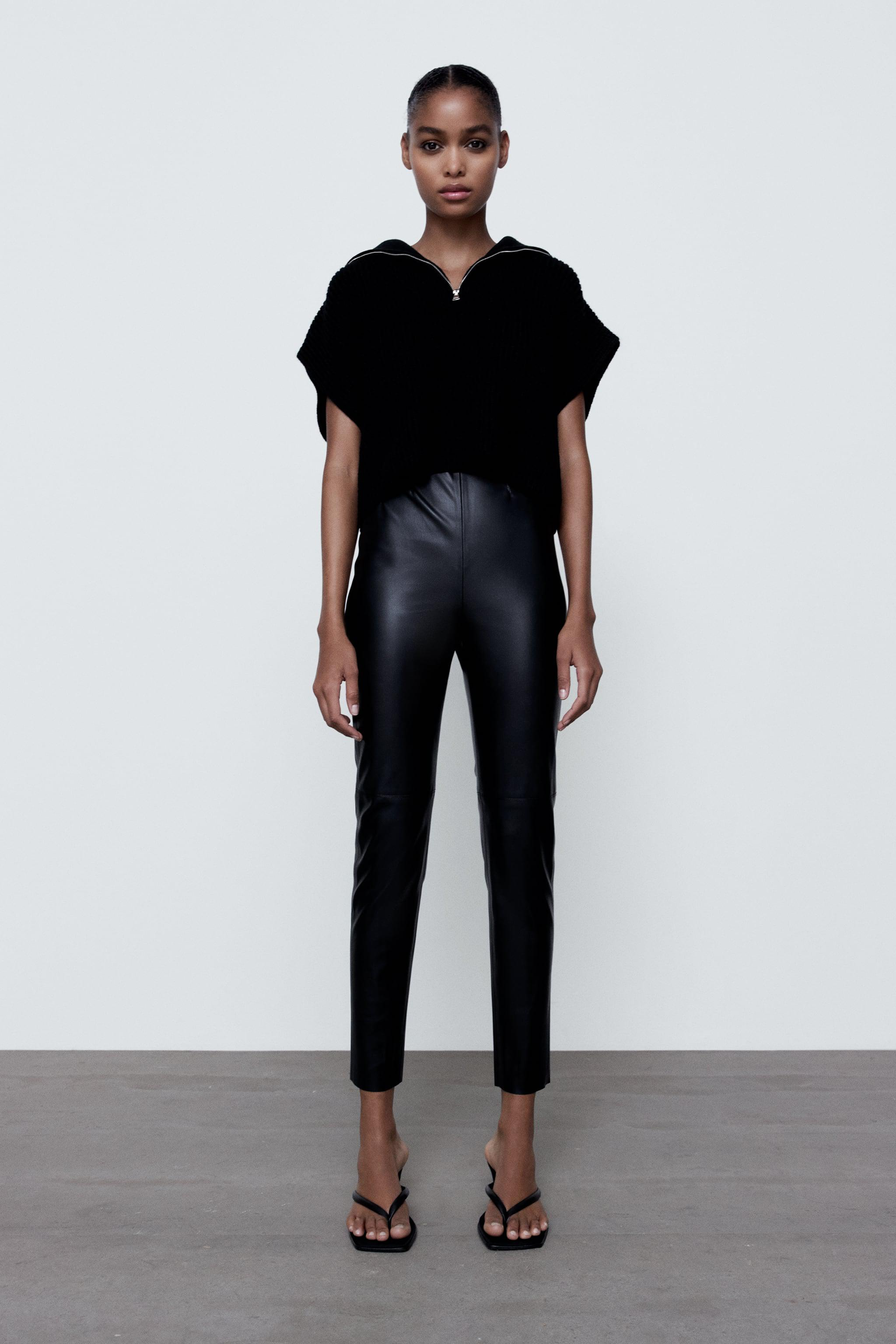 FAUX LEATHER HIGH-WAISTED LEGGINGS