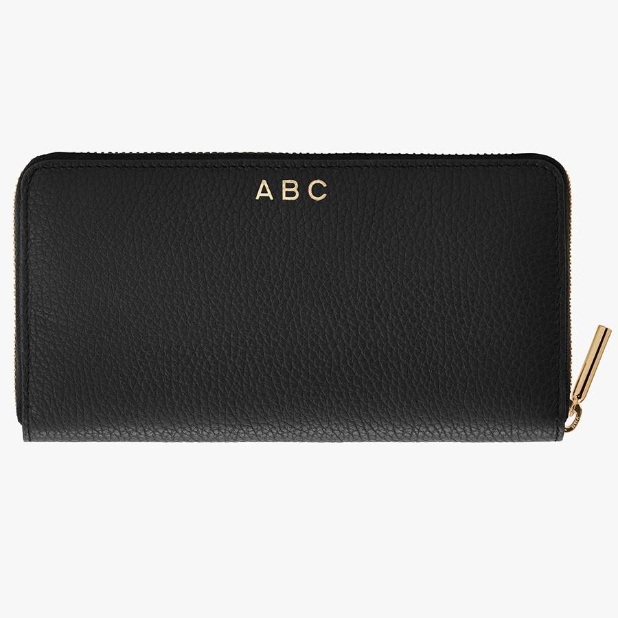 Women's Classic Zip Around Wallet in Black/Red   Pebbled Leather by Cuyana 3