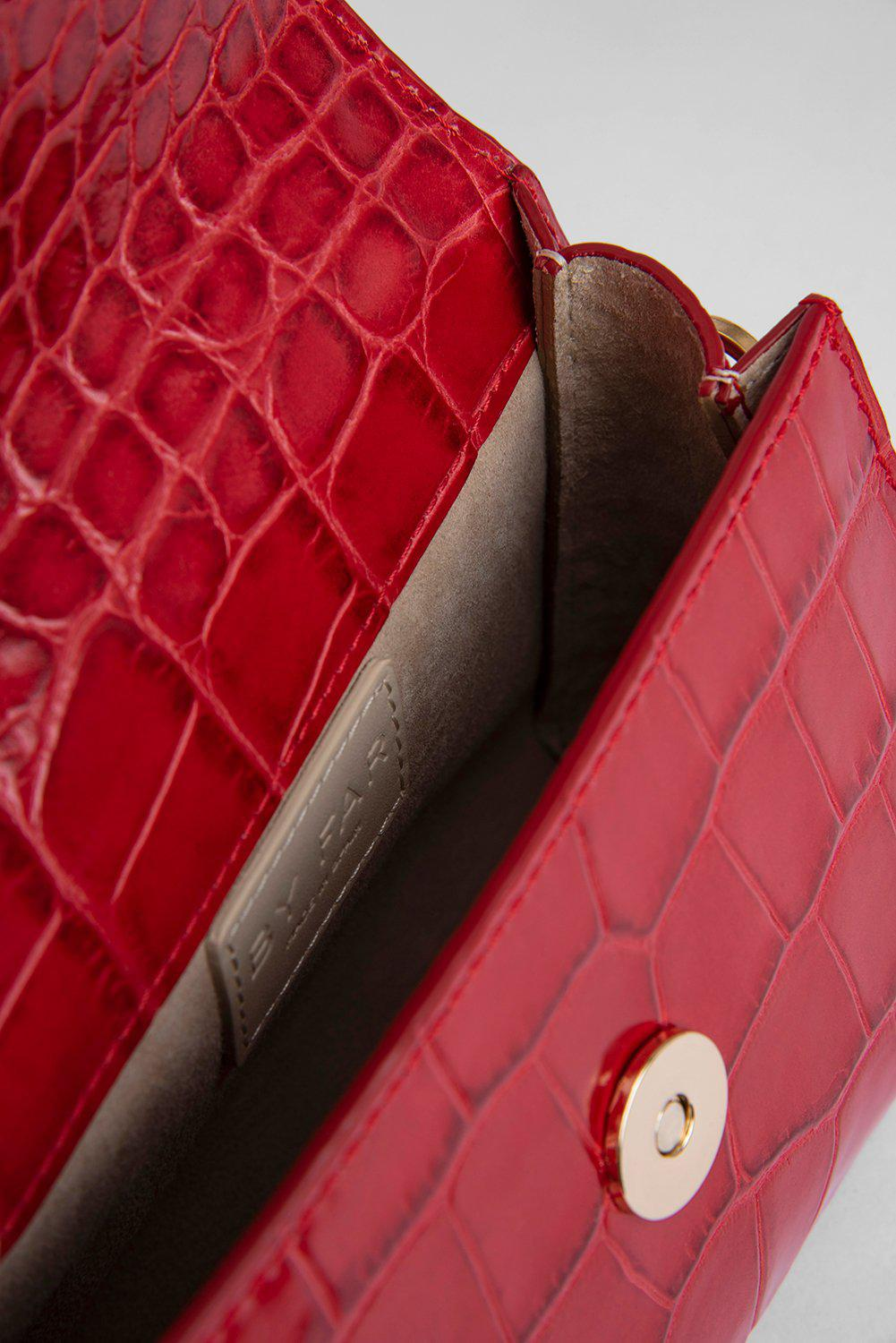 Mini Red Croco Embossed Leather 3