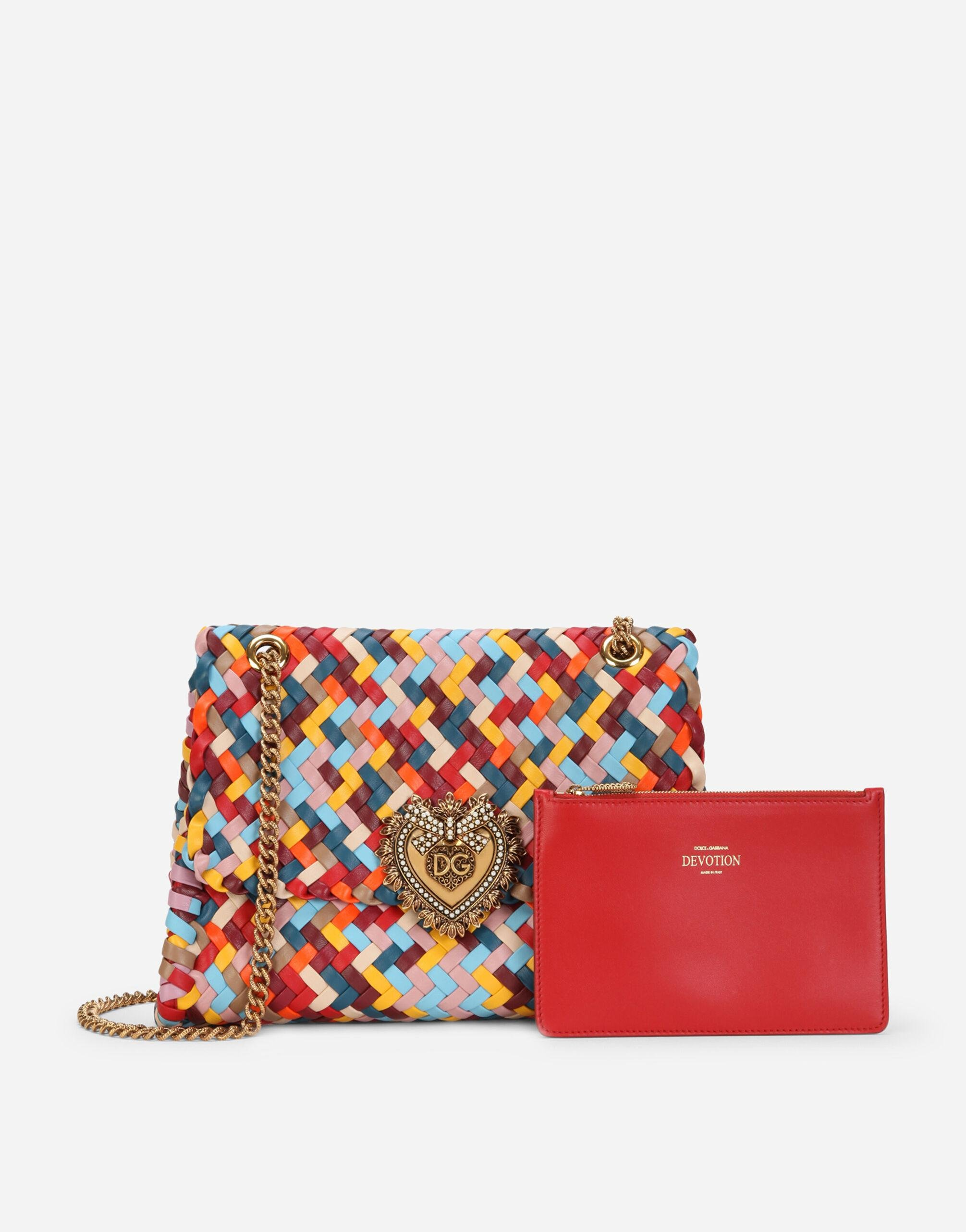 Large Devotion shoulder bag in multi-colored woven nappa leather 3