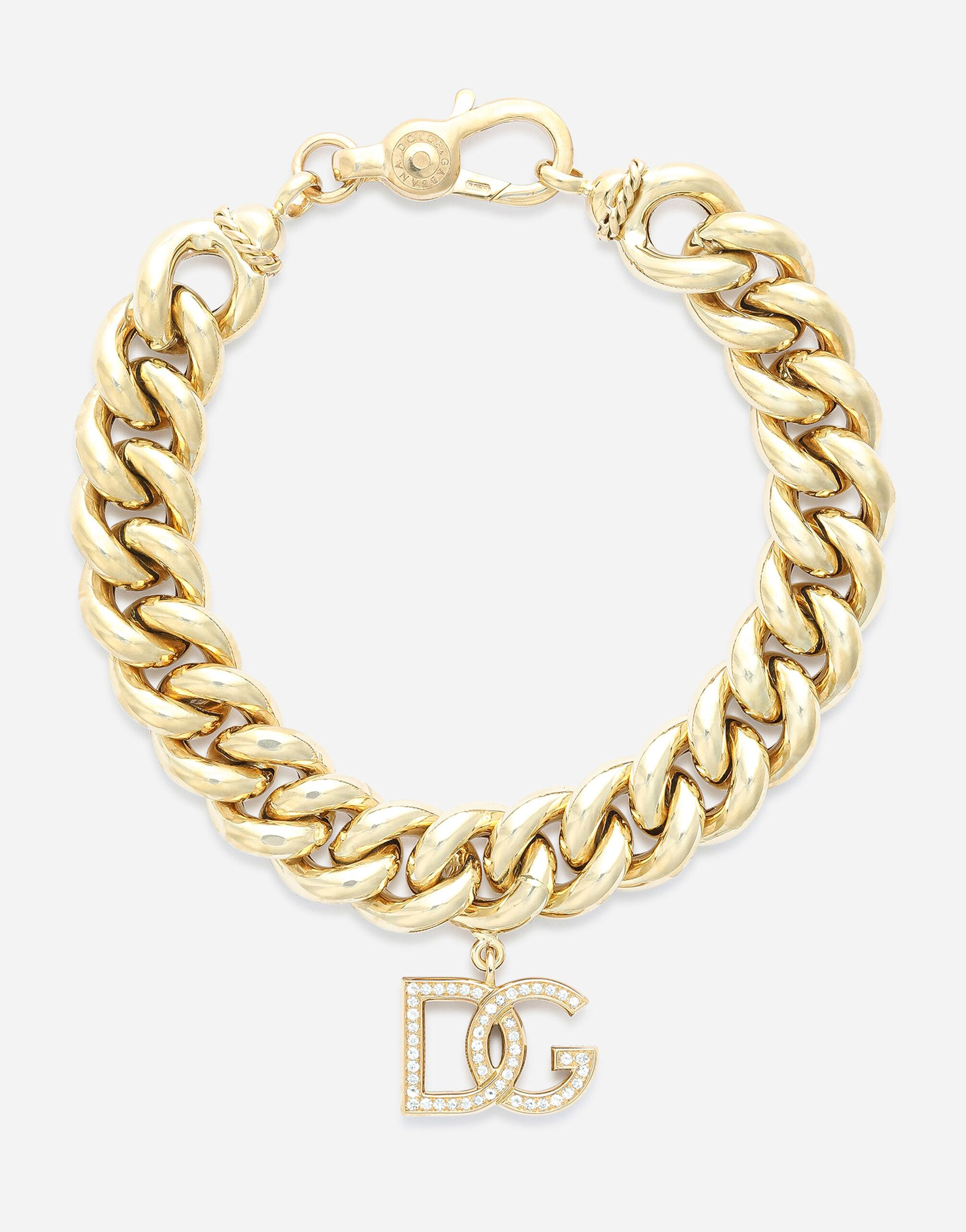 Logo bracelet in yellow 18kt gold with colorless sapphires