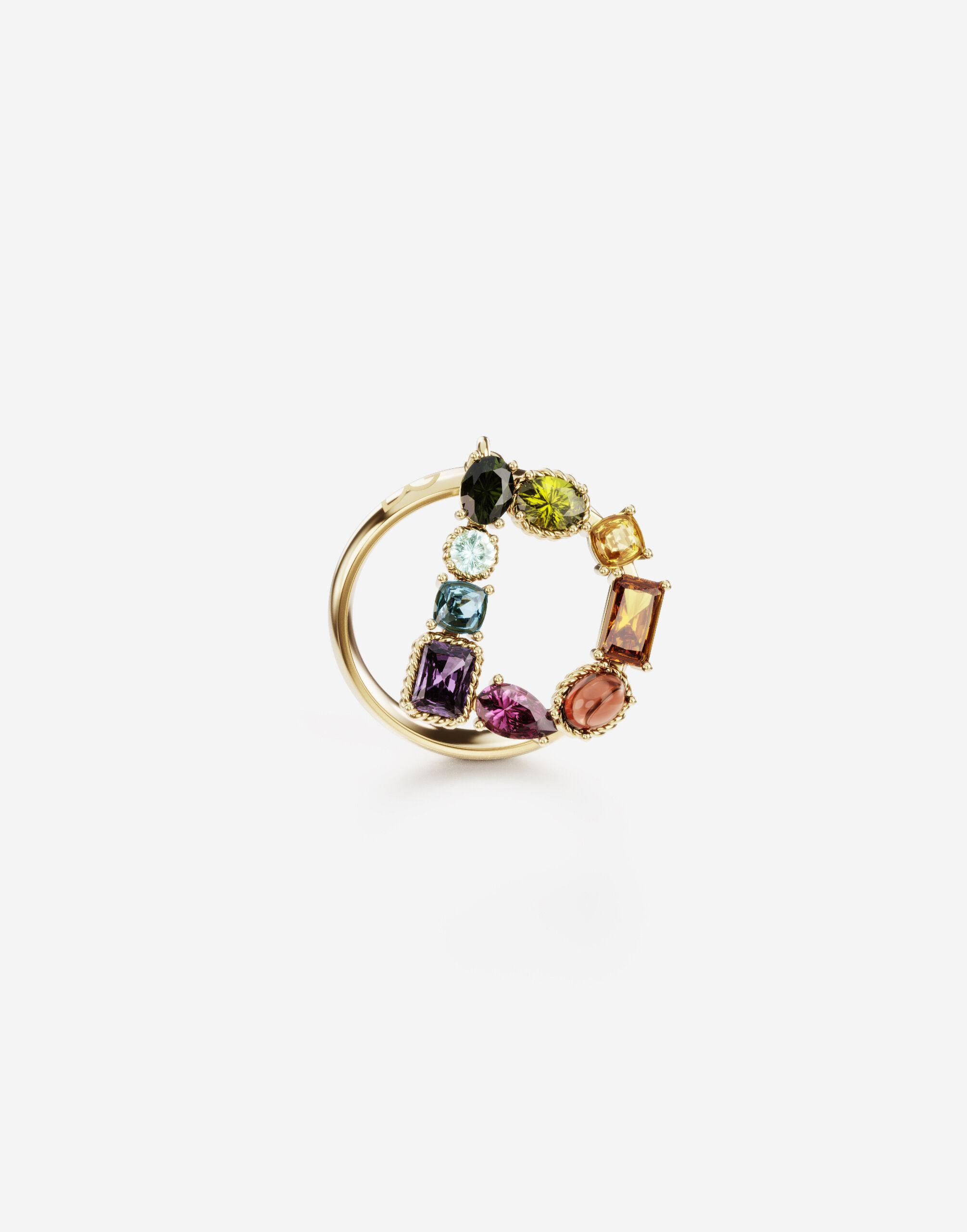 Rainbow alphabet D ring in yellow gold with multicolor fine gems