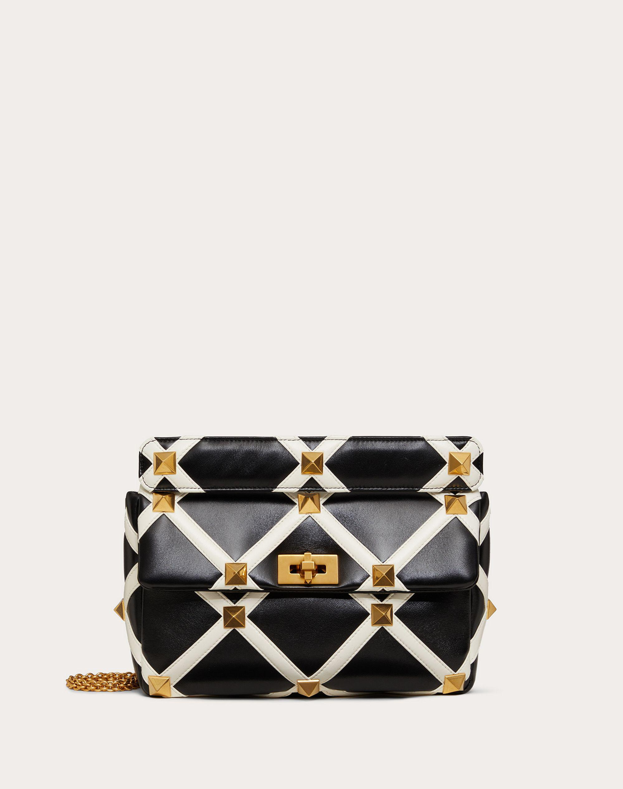 Large Roman Stud The Shoulder Bag in Nappa with Grid Detailing