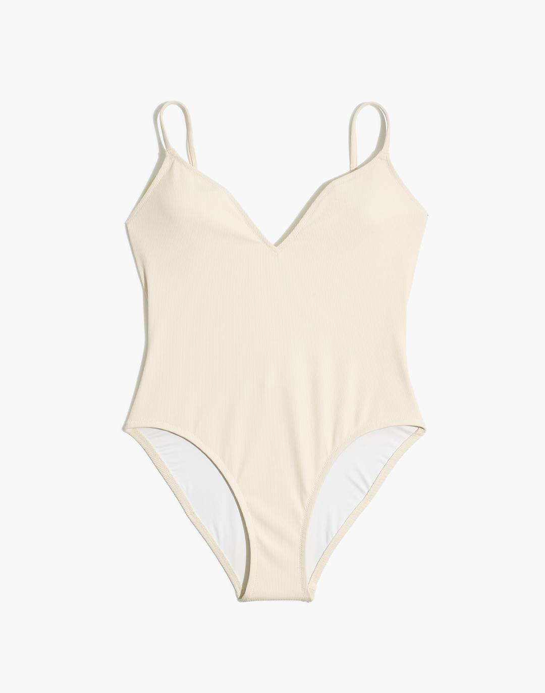 Madewell Second Wave Ribbed Low-V One-Piece Swimsuit 3