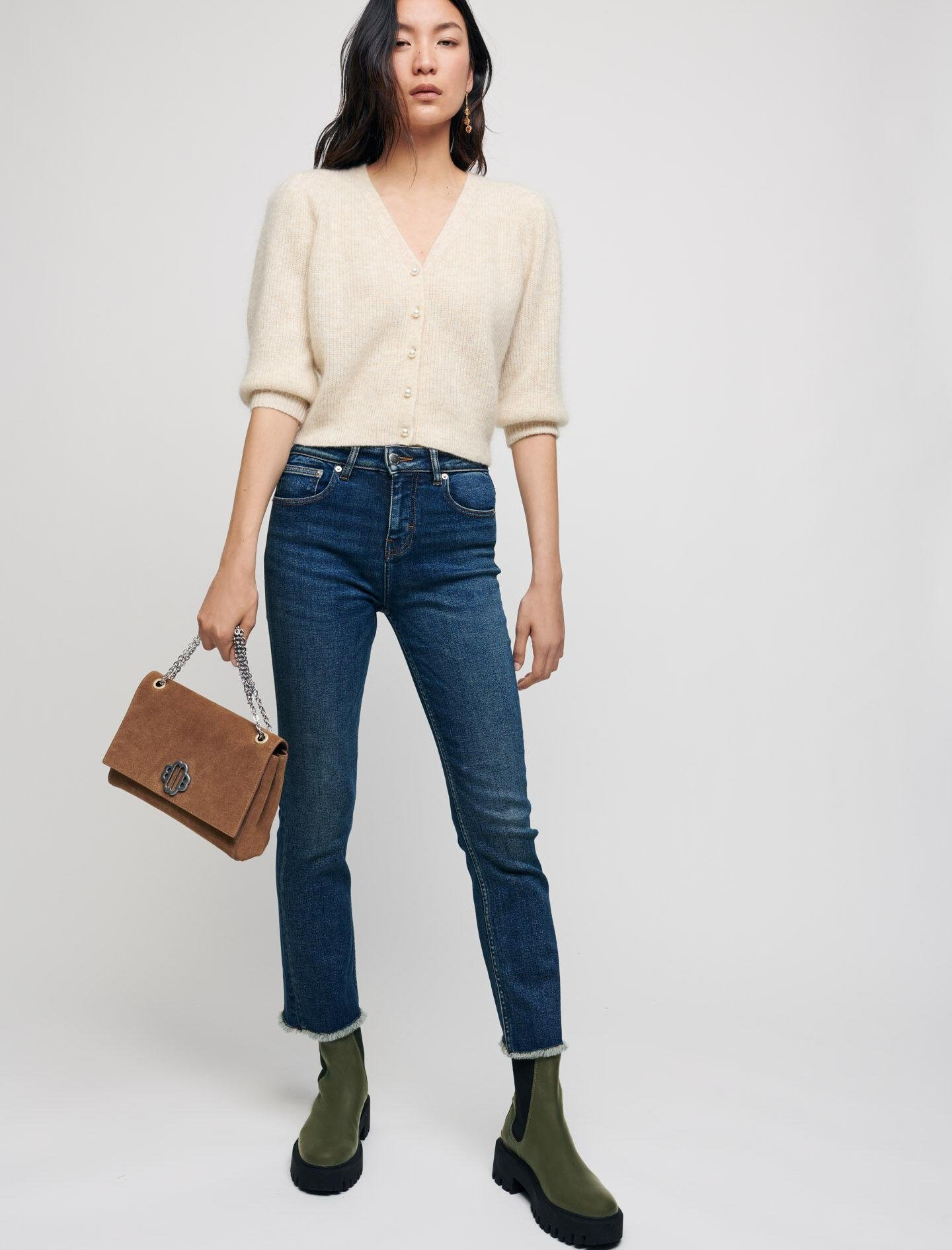 STRAIGHT CUT JEANS WITH FRINGING