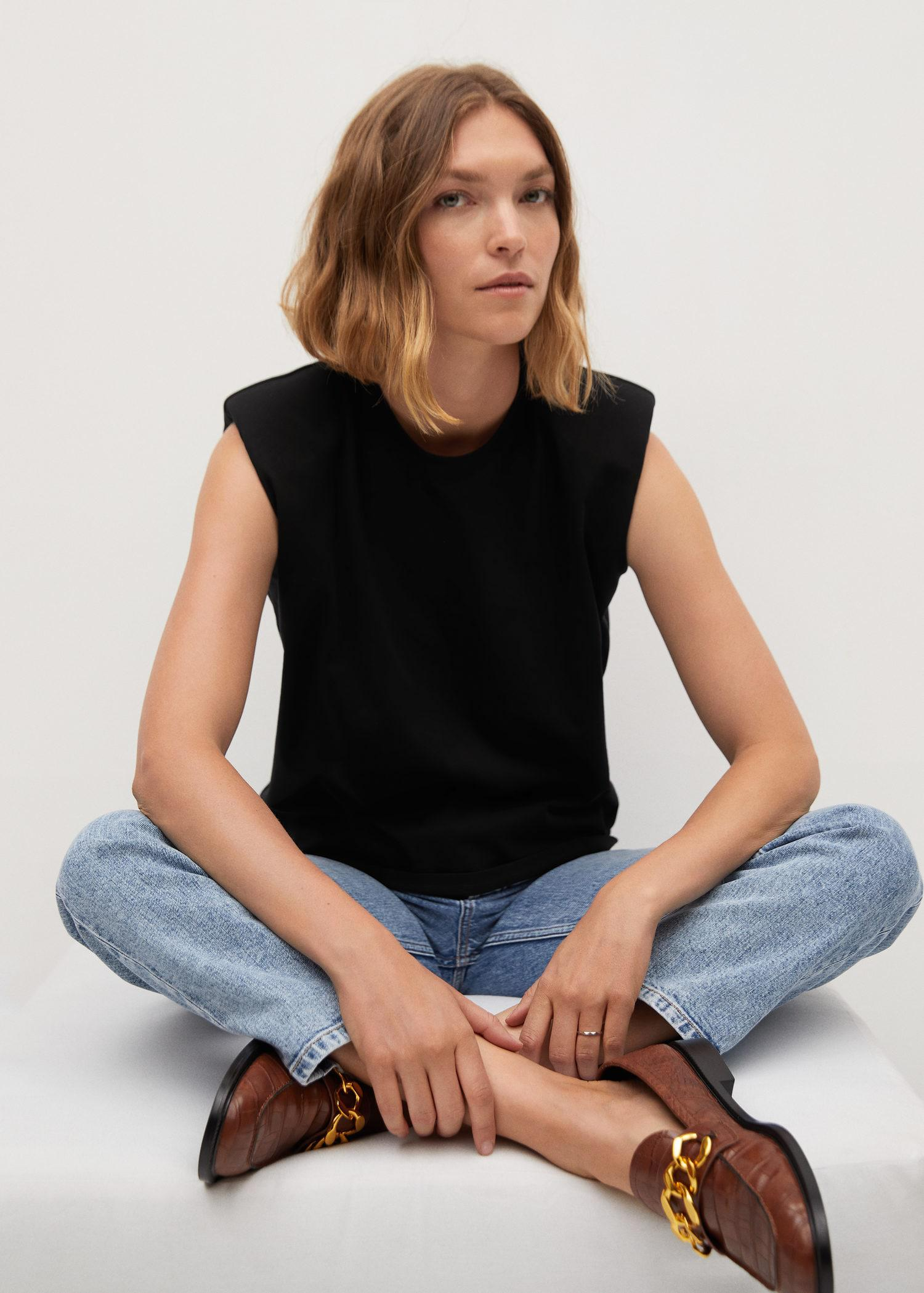 Organic cotton t-shirt with shoulder pads 4