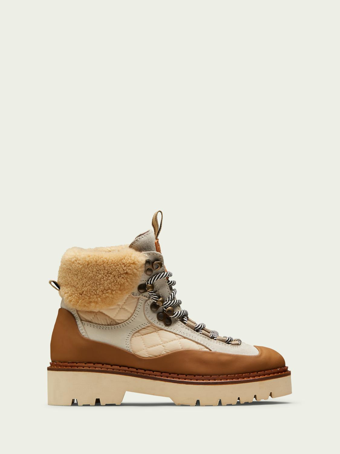 Olivine suede wool hiking boots