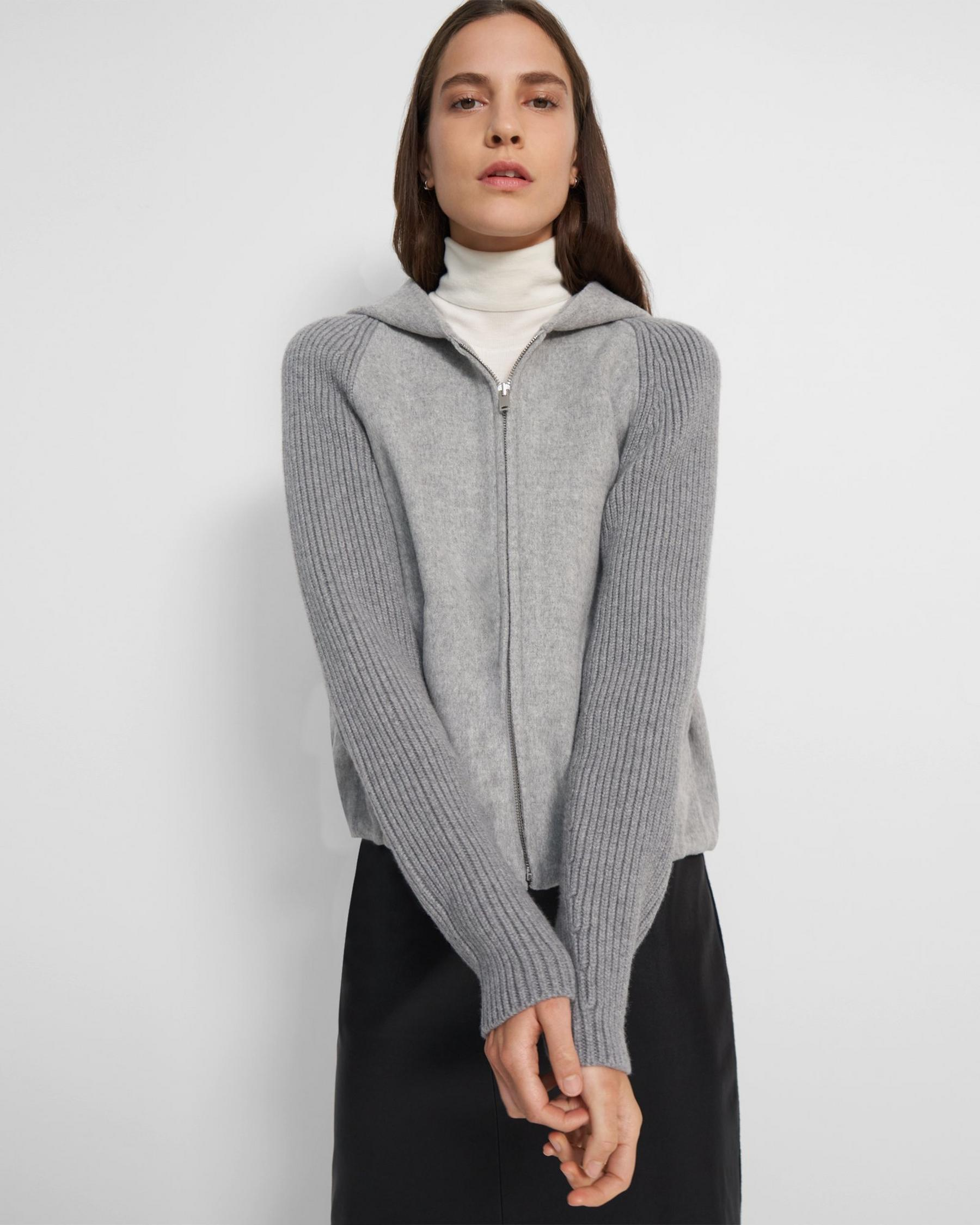 Ribbed Sleeve Hoodie in Double-Face Wool-Cashmere