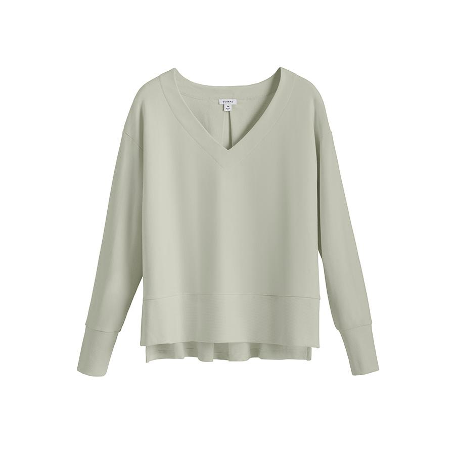 Women's French Terry V-Neck Sweatshirt in Sage | Size: