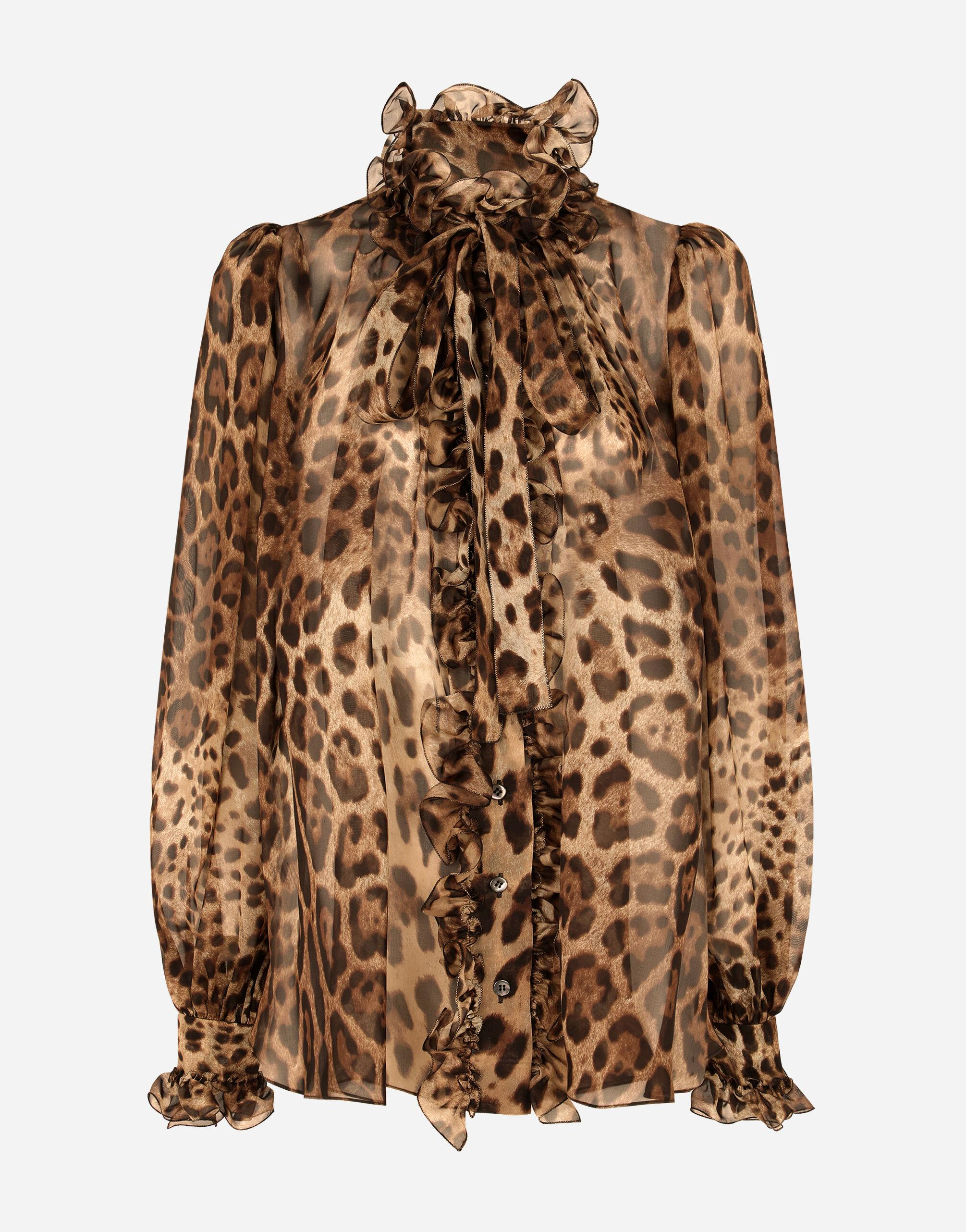 Leopard-print chiffon shirt with ruches and pussy-bow 3