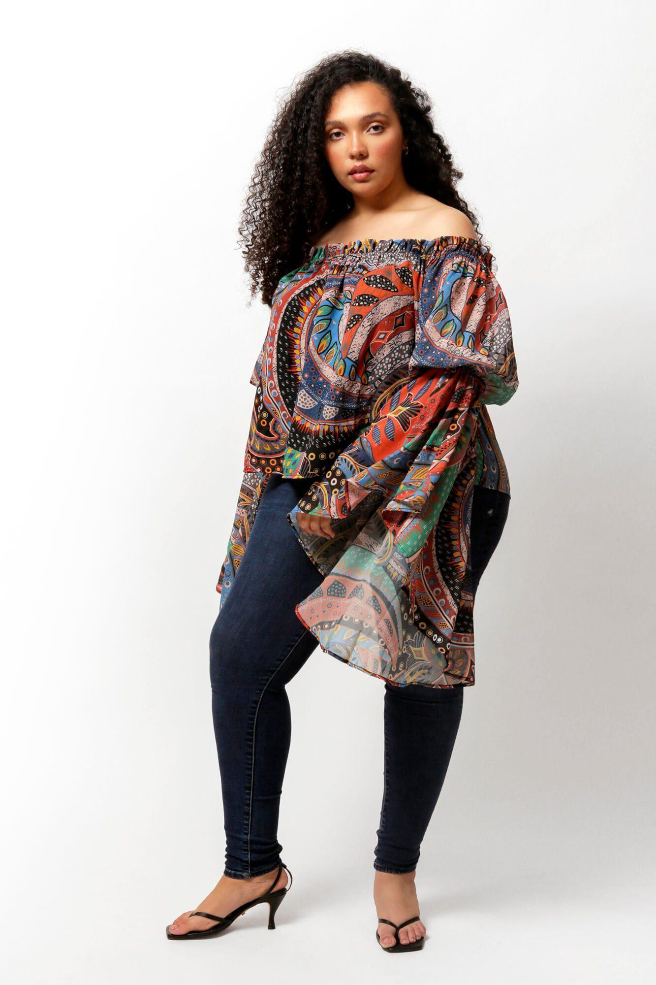 Ethnic Print Brittney Off The Shoulder Bell Sleeve Top 1