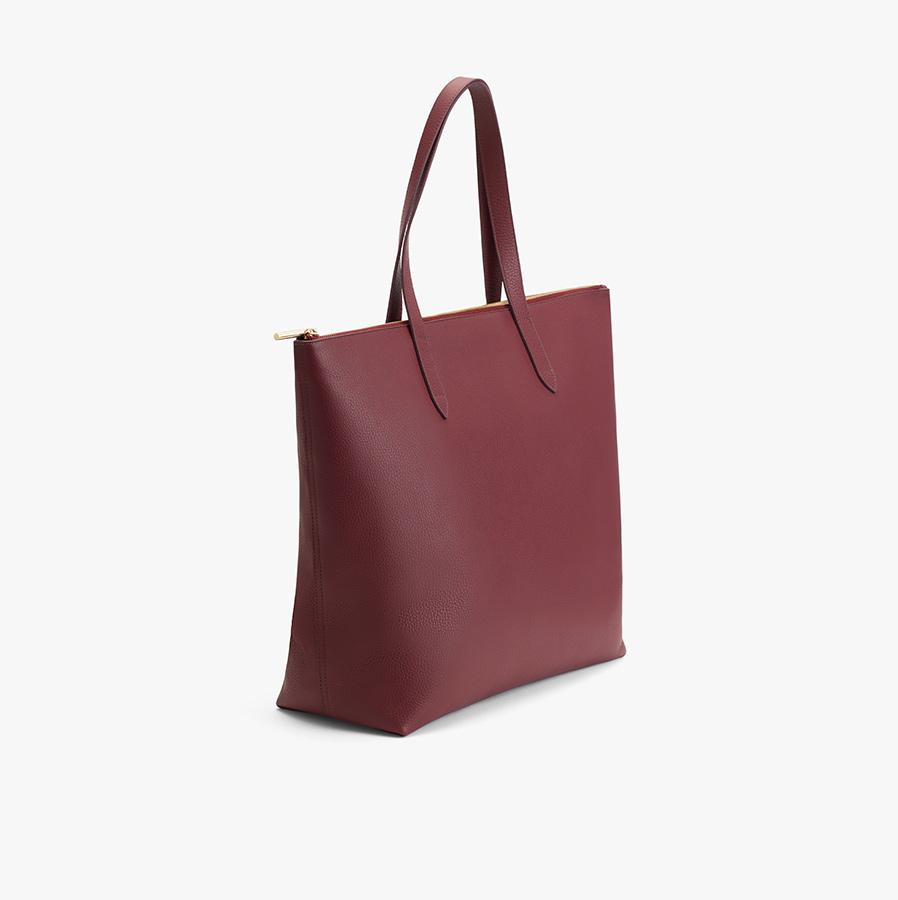 Women's Classic Leather Zipper Tote Bag in Merlot Painted | Pebbled Leather by Cuyana 2