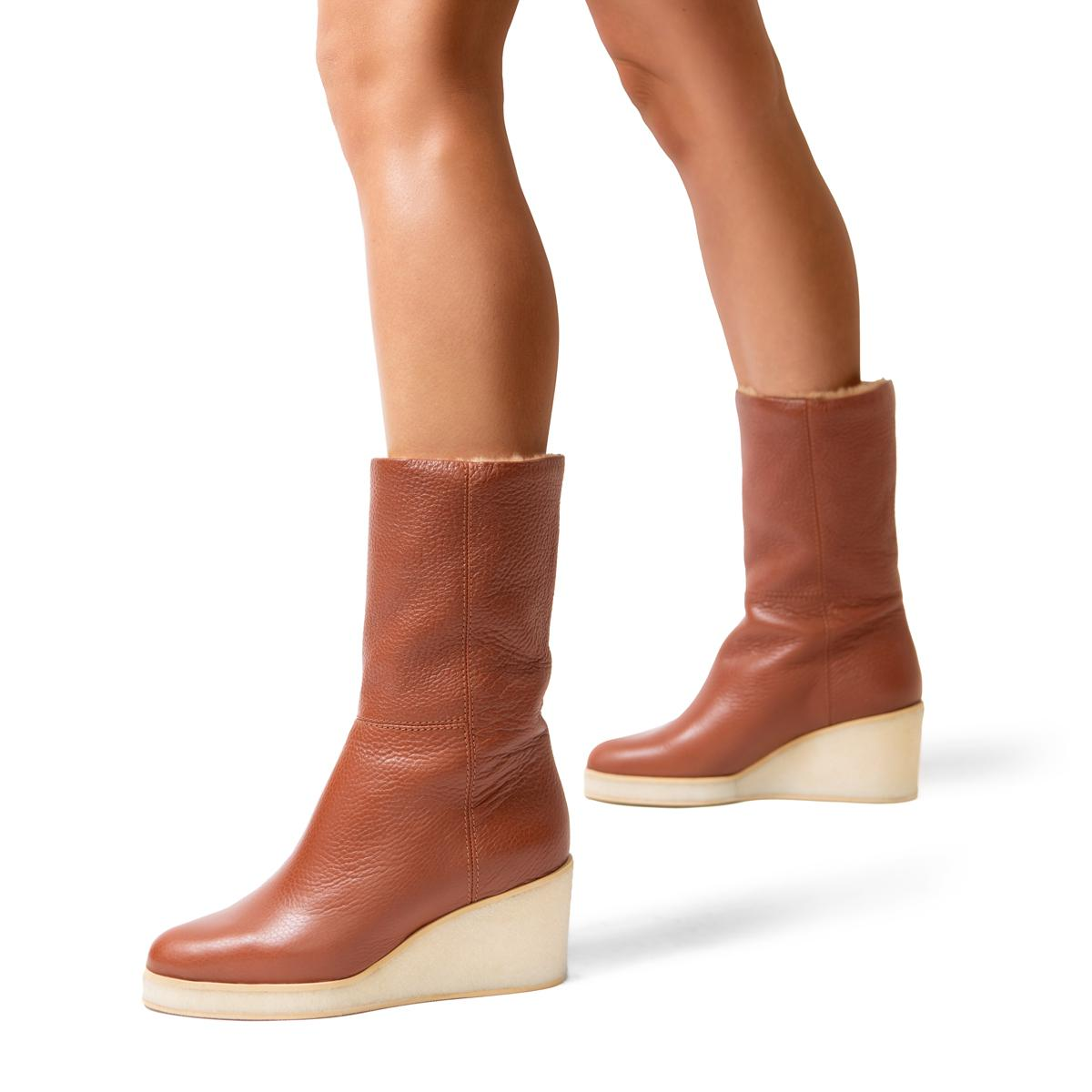 Tucker   Pebbled Leather Wedge Boot 4