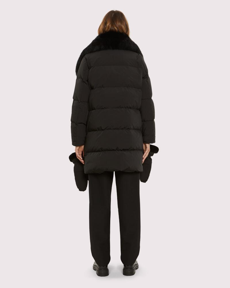 belted down jacket with fox collar 3
