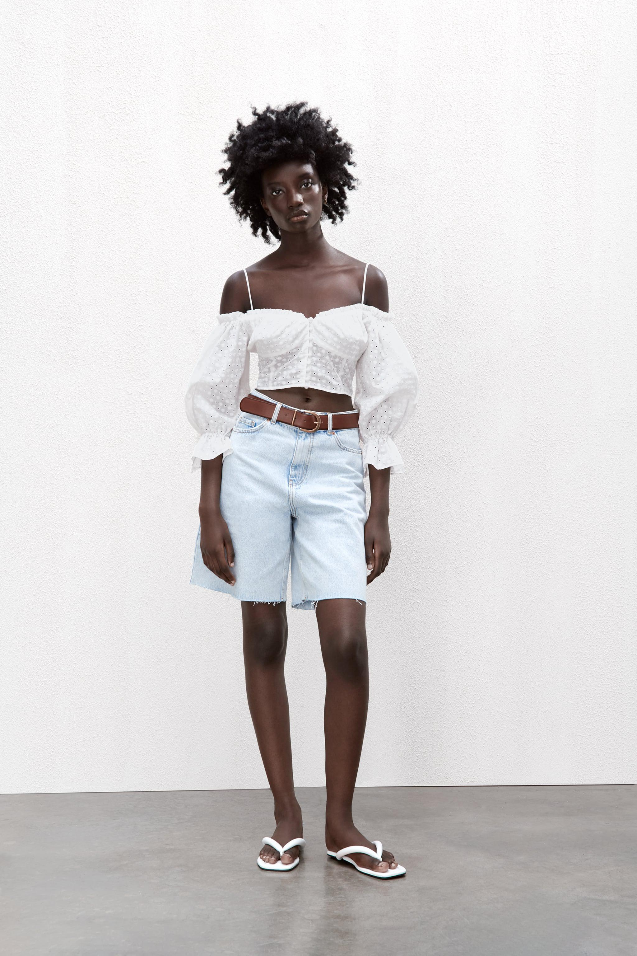 EMBROIDERED EYELET CROP TOP