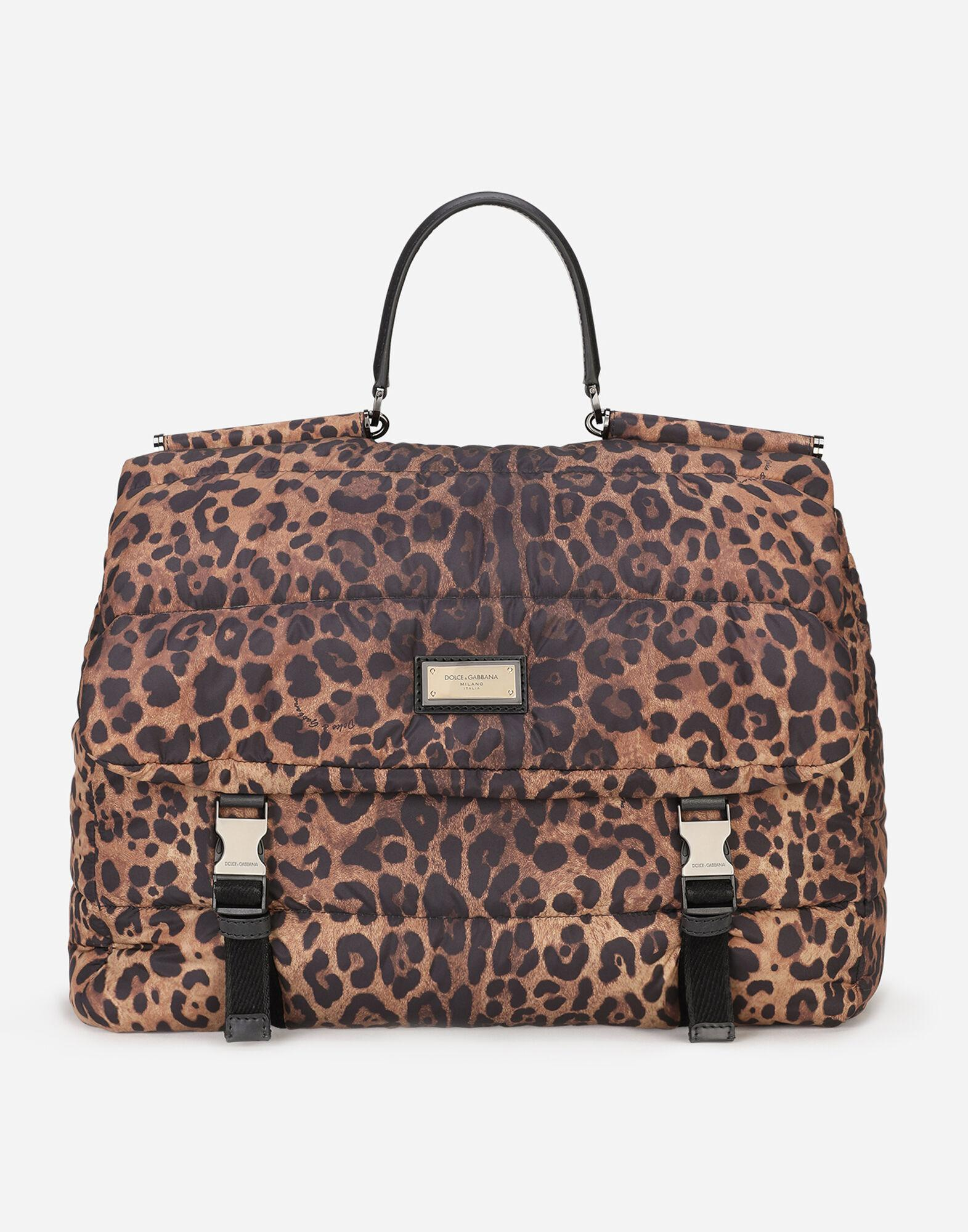 Leopard-print Sicily travel bag in quilted nylon